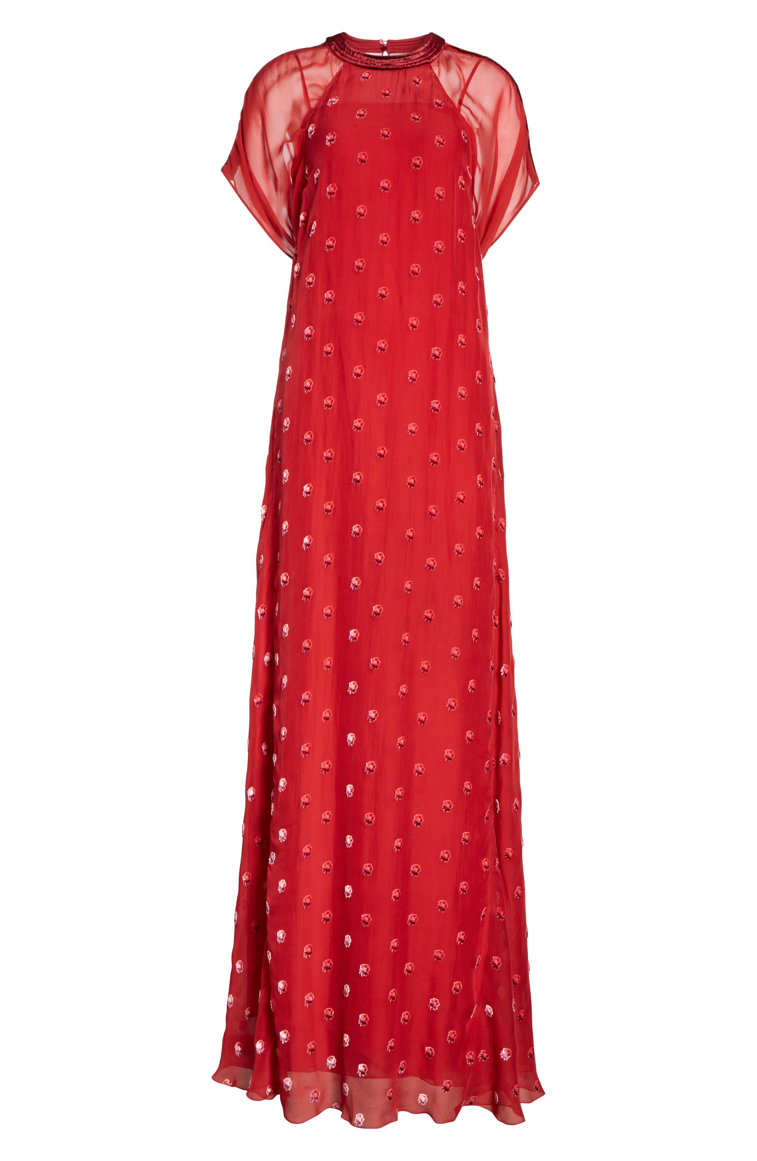Devoré Rosebud Silk Gown,                             Alternate thumbnail 7, color,                             Red