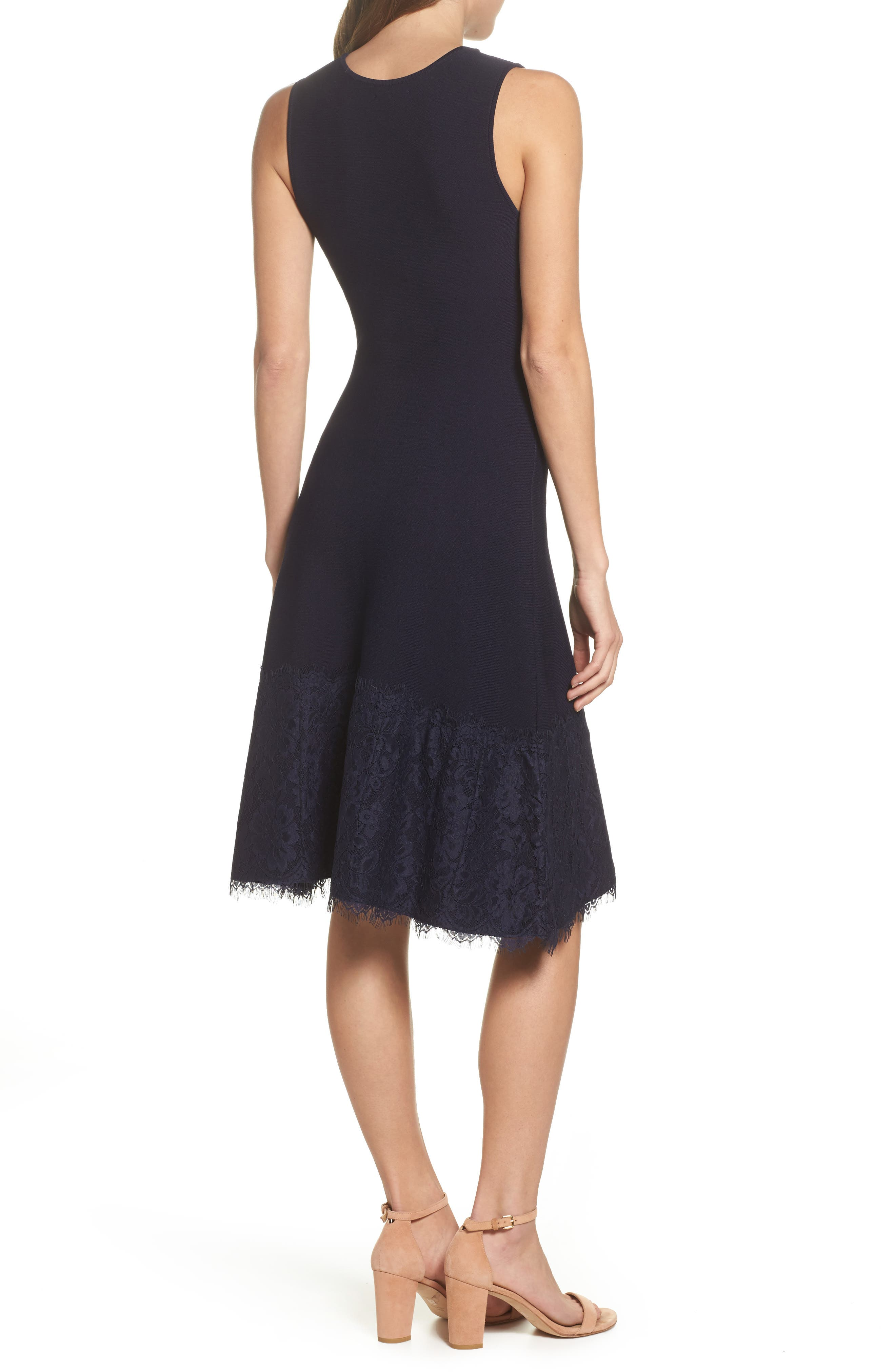 Lace Hem Fit & Flare Dress,                             Alternate thumbnail 2, color,                             Navy