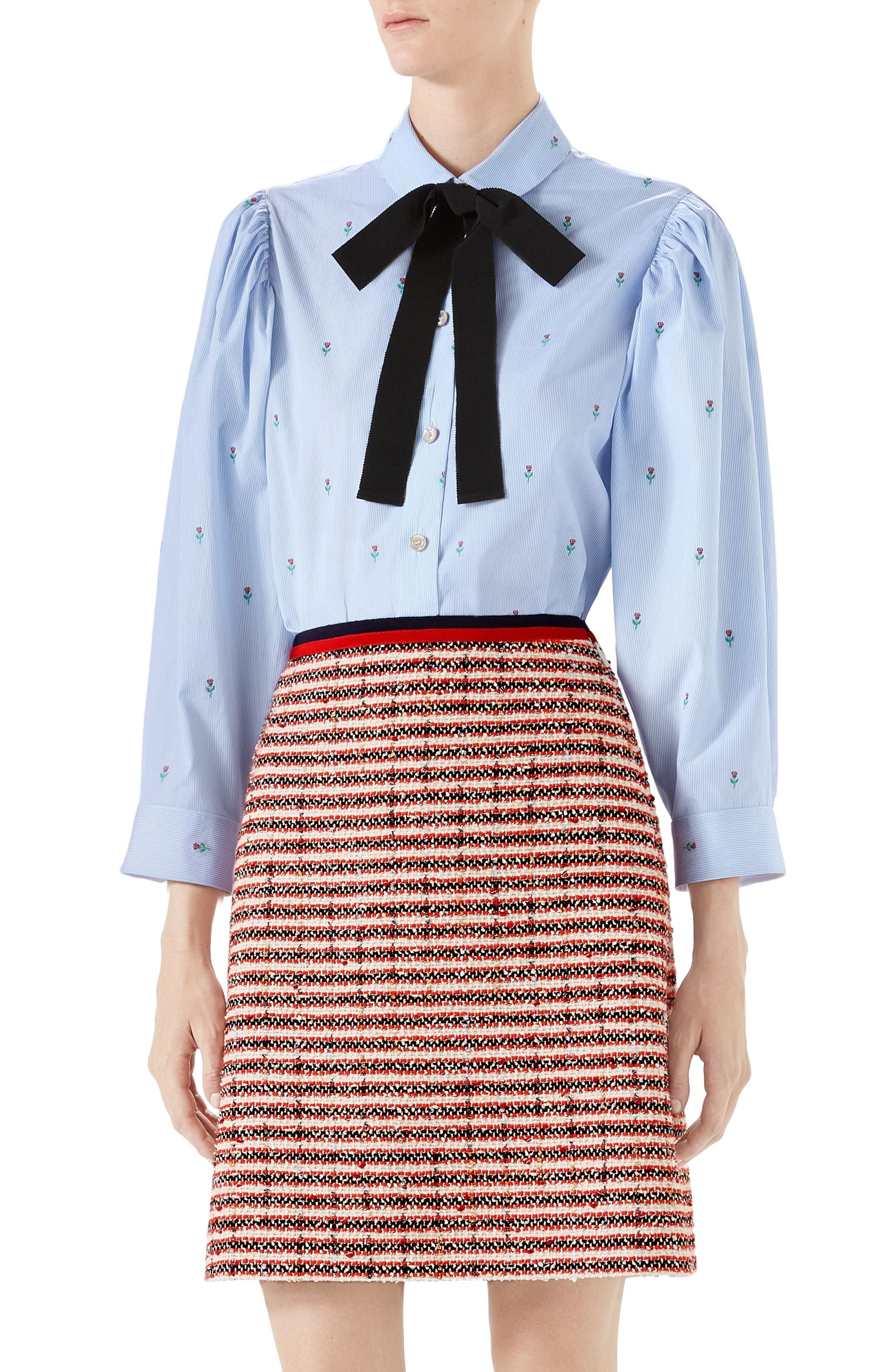 GUCCI RIBBON BOW FLORAL EMBROIDERED OXFORD SHIRT, BLUE/BLACK