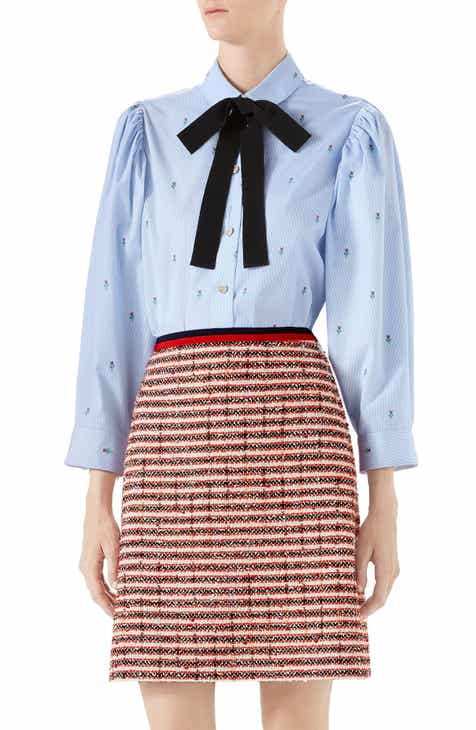 Gucci Ribbon Bow Floral Embroidered Oxford Shirt