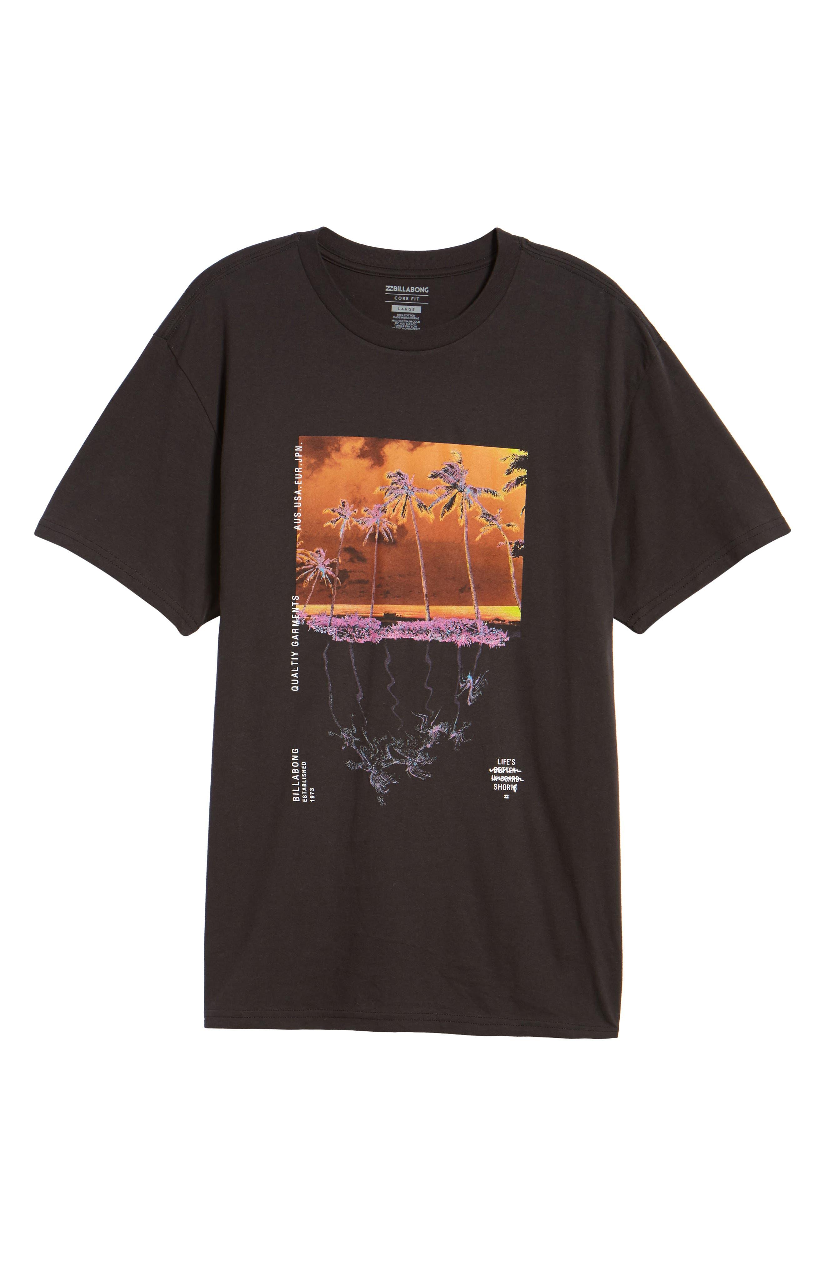 Wavy Graphic T-Shirt,                             Alternate thumbnail 6, color,                             Black