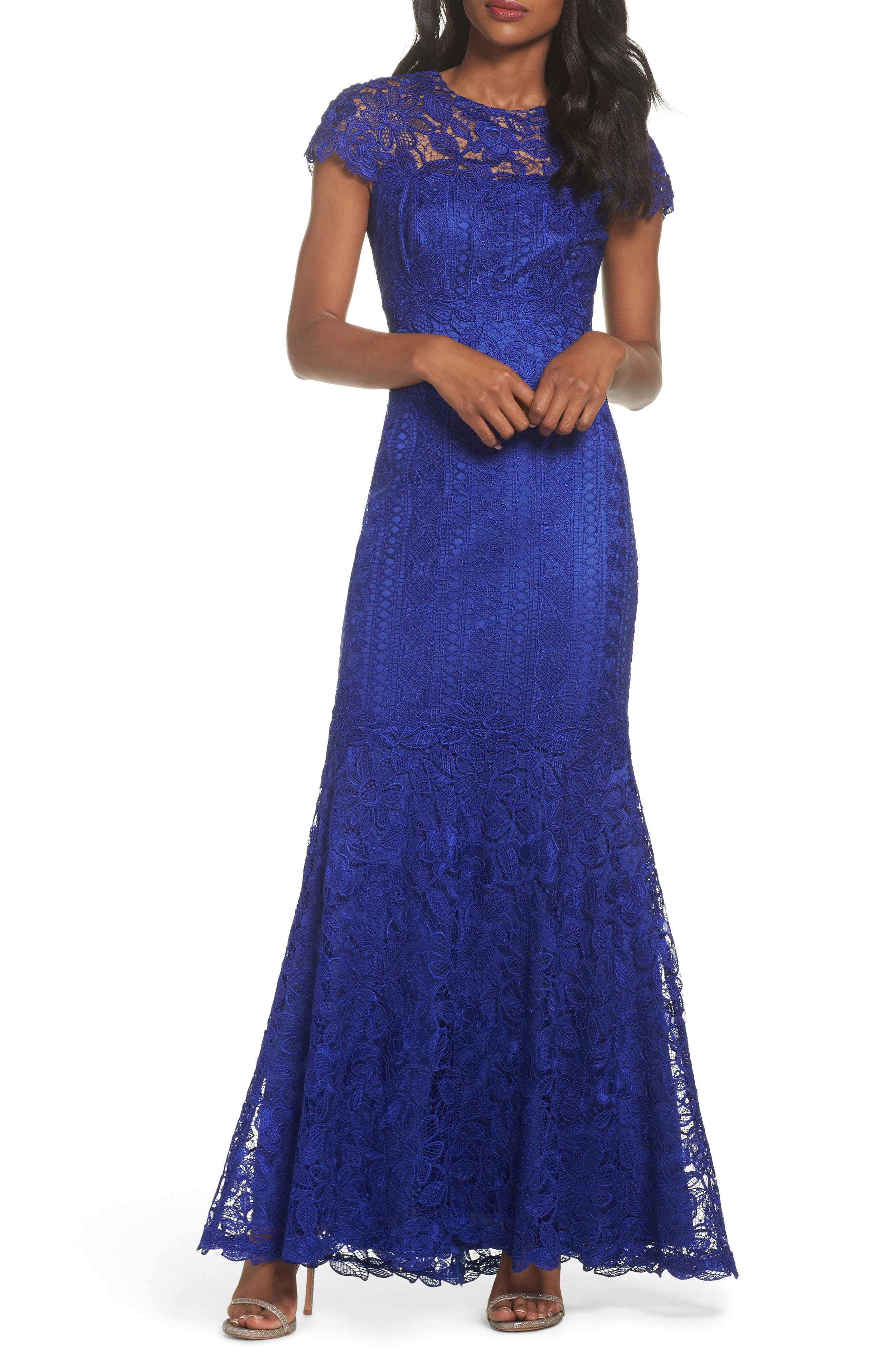 Lace Mermaid Gown,                             Main thumbnail 1, color,                             Indigo