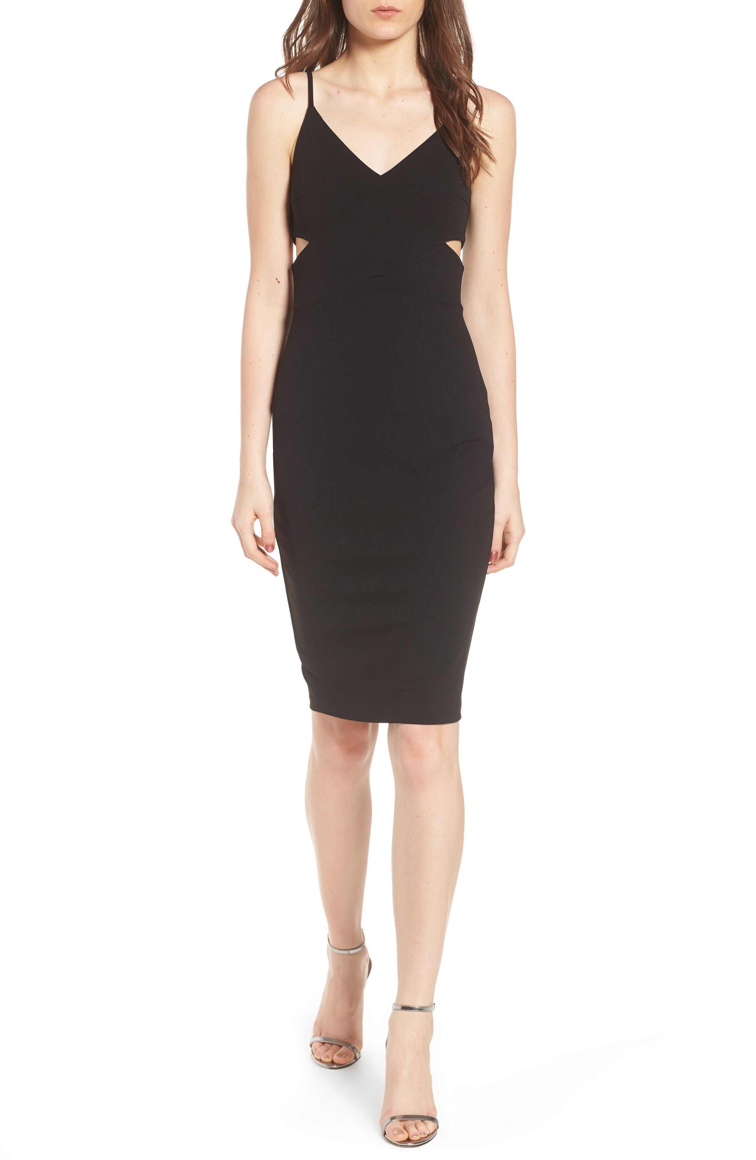 Side Cutout Body-Con Dress,                             Main thumbnail 1, color,                             Black