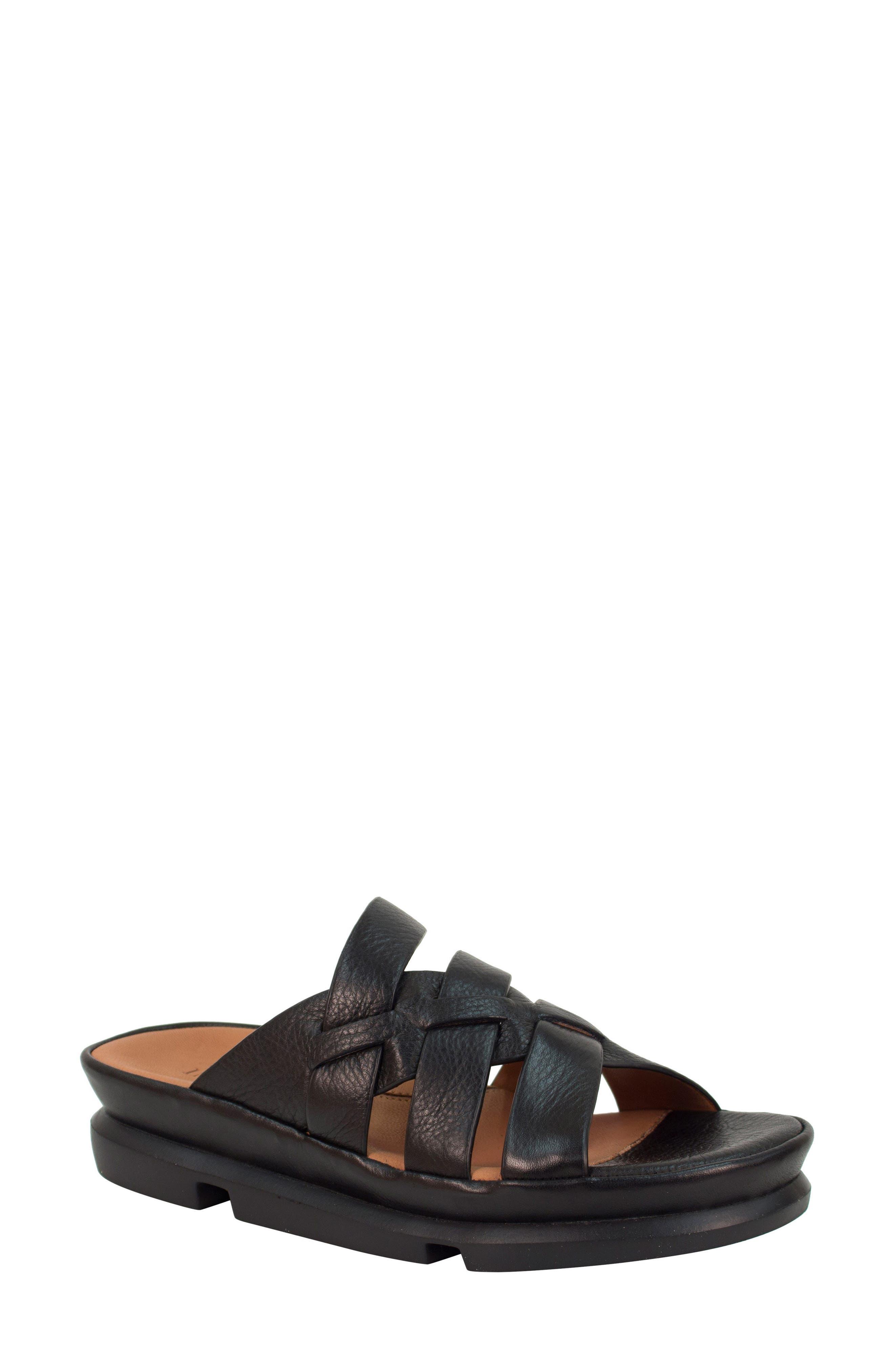 Veryl Sandal,                         Main,                         color, Black Leather