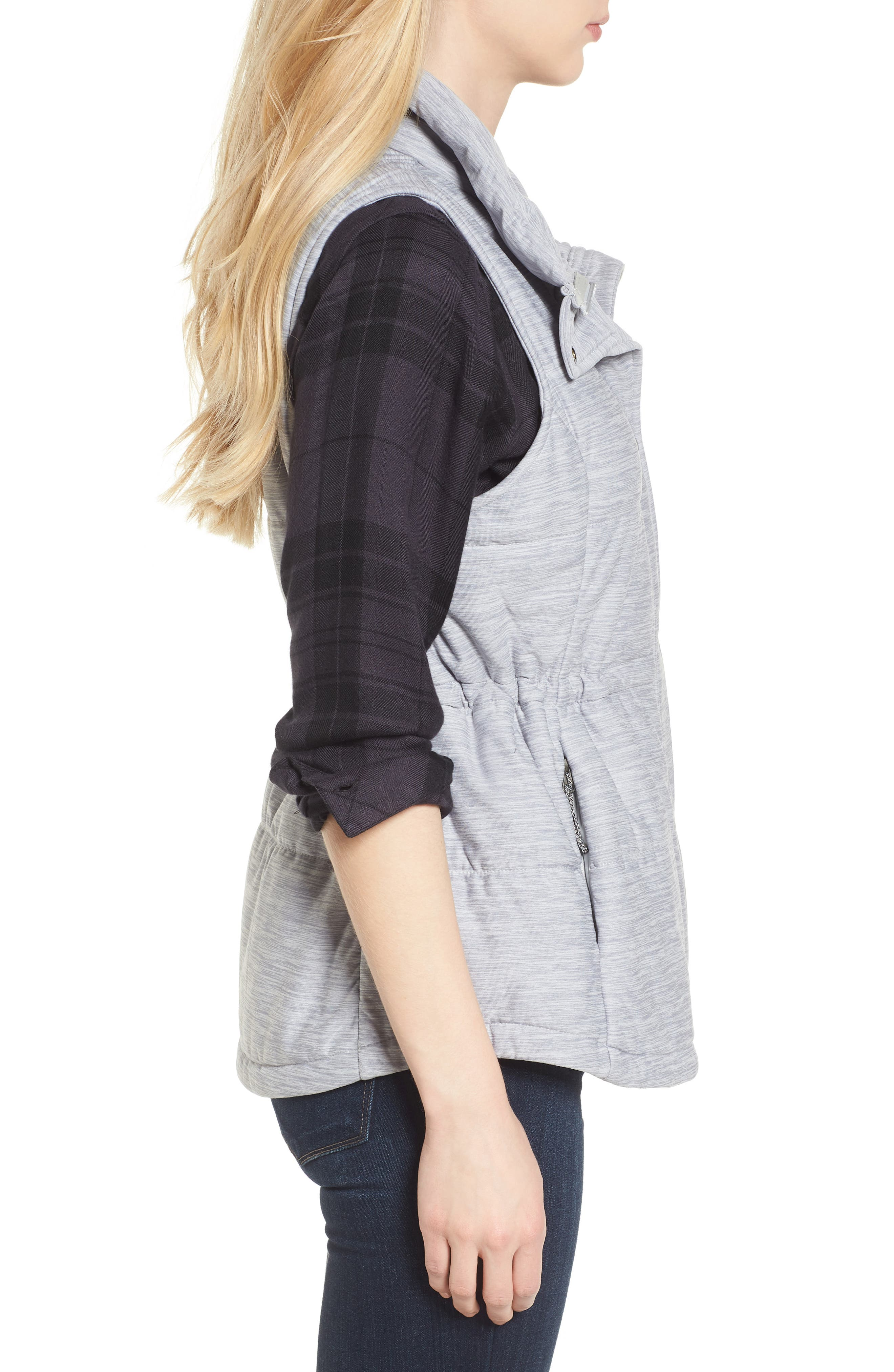 'Pseudio' Quilted Vest,                             Alternate thumbnail 4, color,                             Light Grey Heather