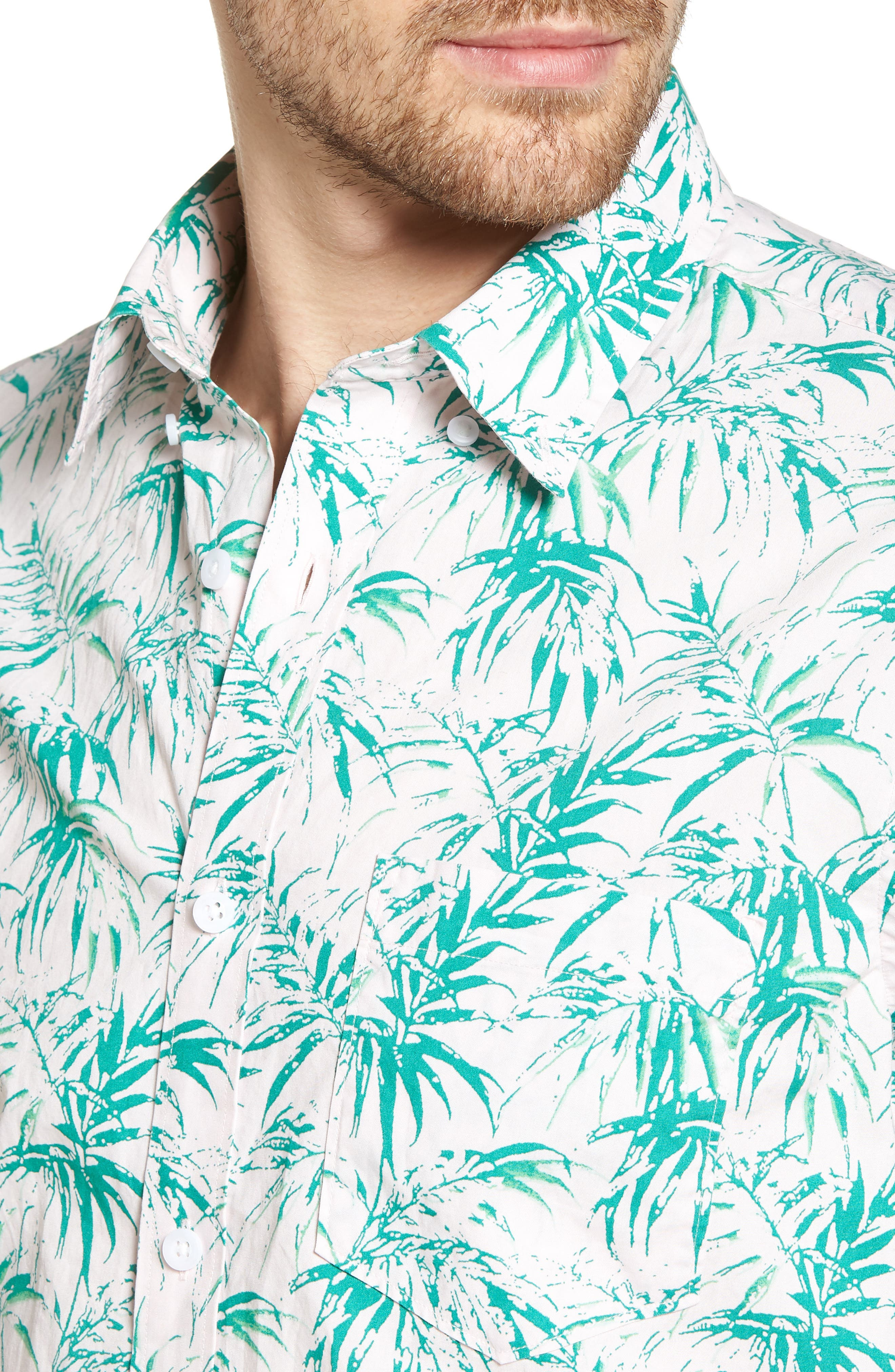 Trim Fit Palm Print Sport Shirt,                             Alternate thumbnail 2, color,                             Pink Green Stamped Palms