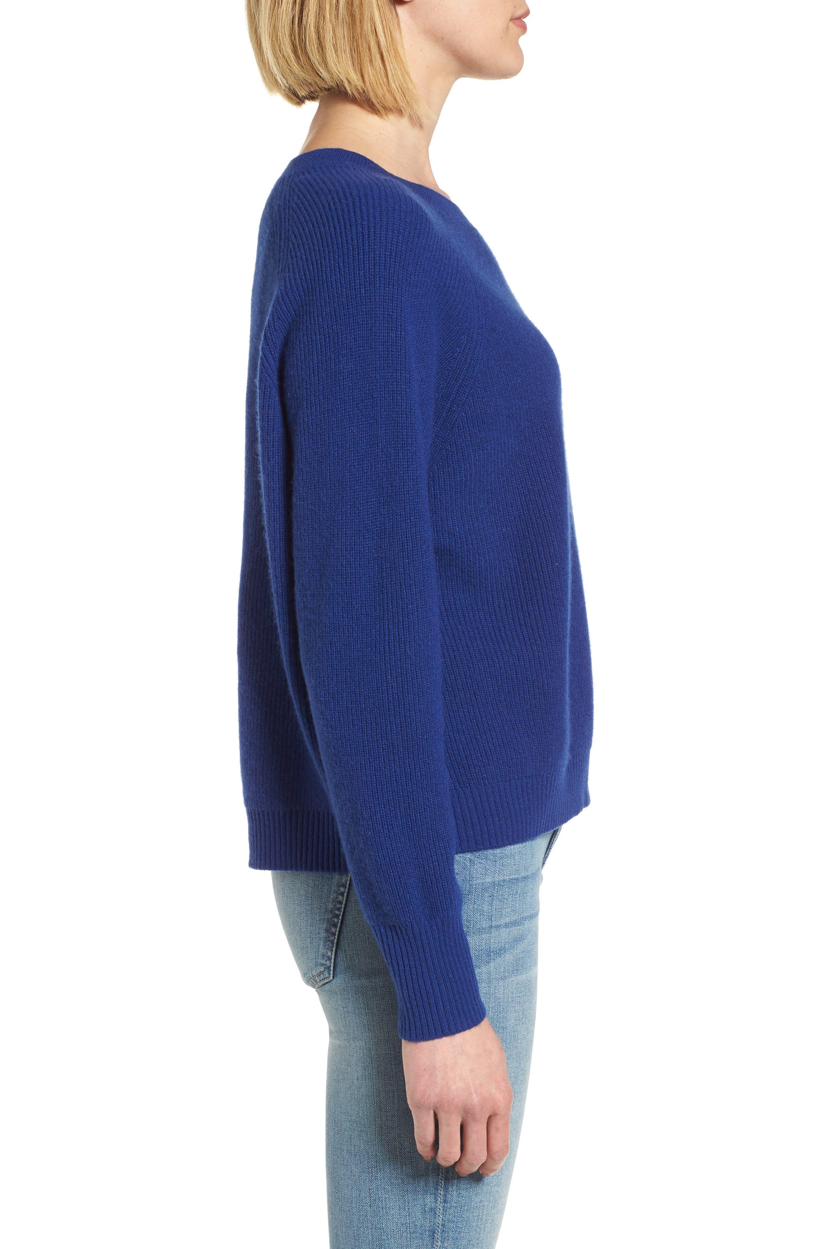 Cashmere Sweater,                             Alternate thumbnail 3, color,                             Coblt Blue