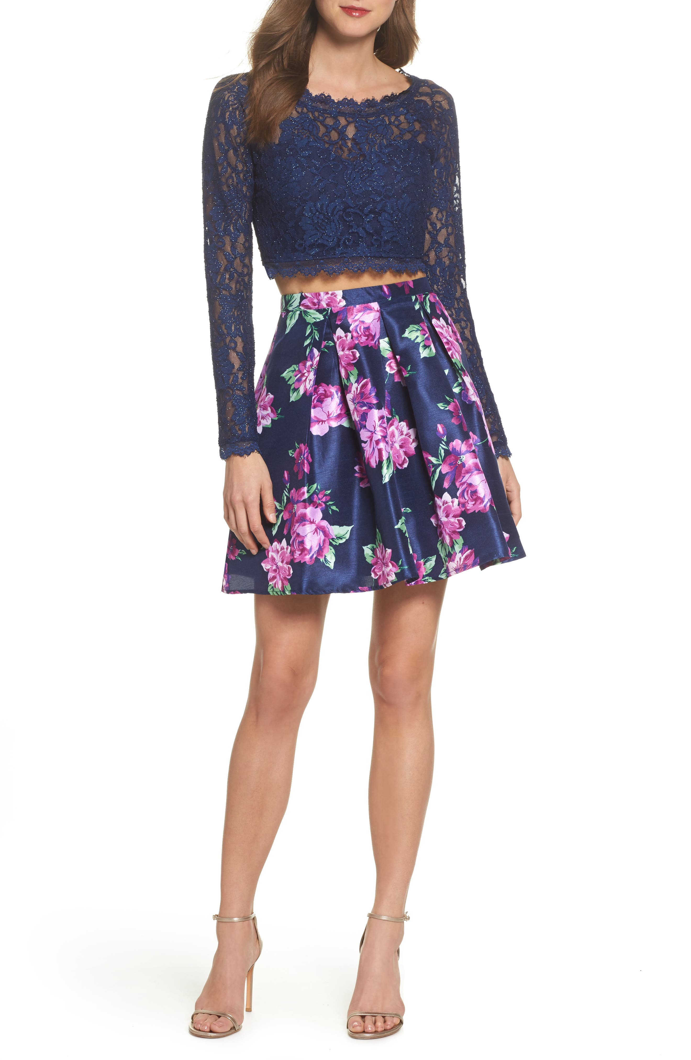 Glitter Lace Two-Piece Dress,                             Main thumbnail 1, color,                             Navy/ Violet