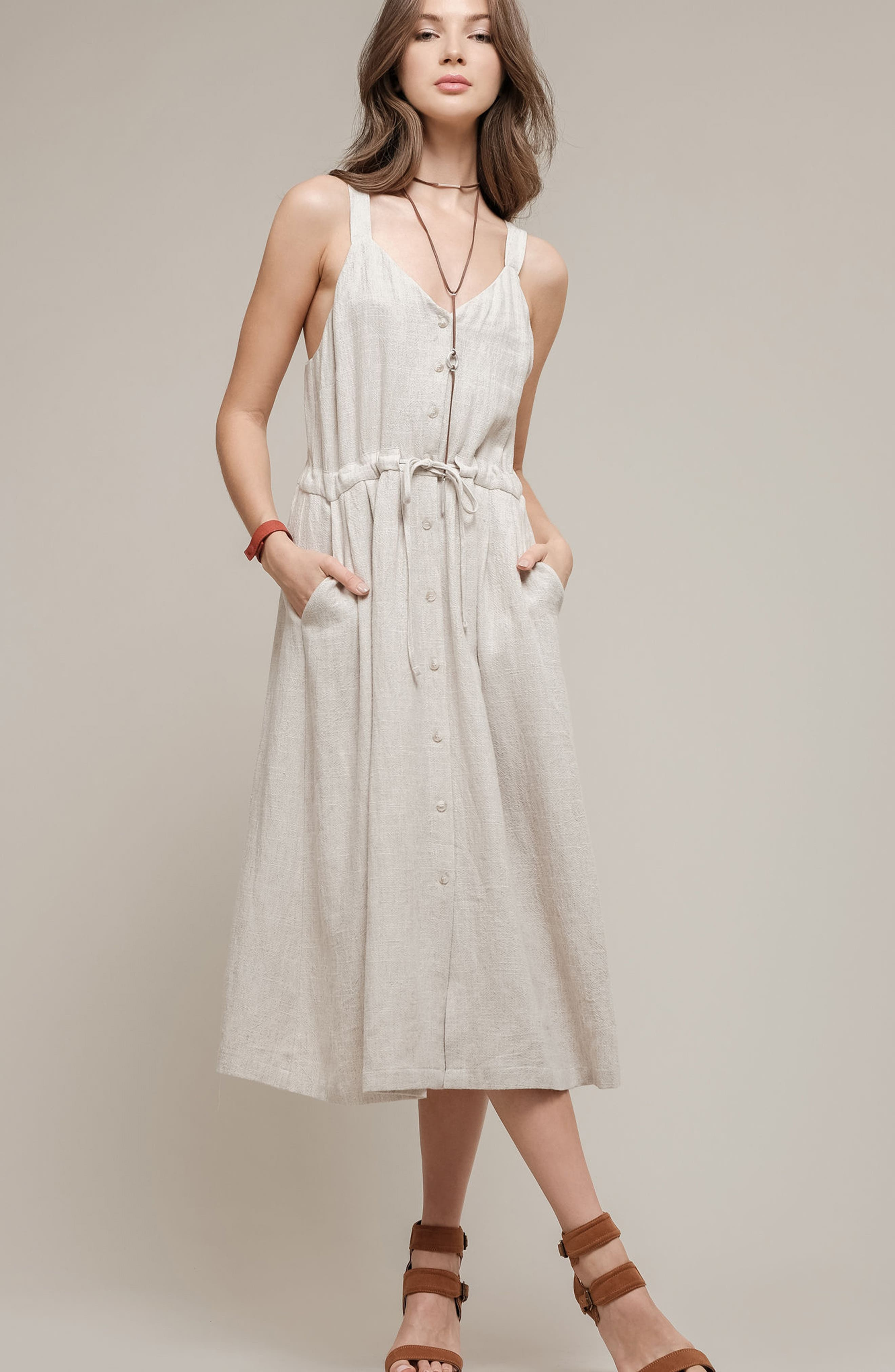 Button Up Drawstring Midi Dress,                             Alternate thumbnail 2, color,                             Natural