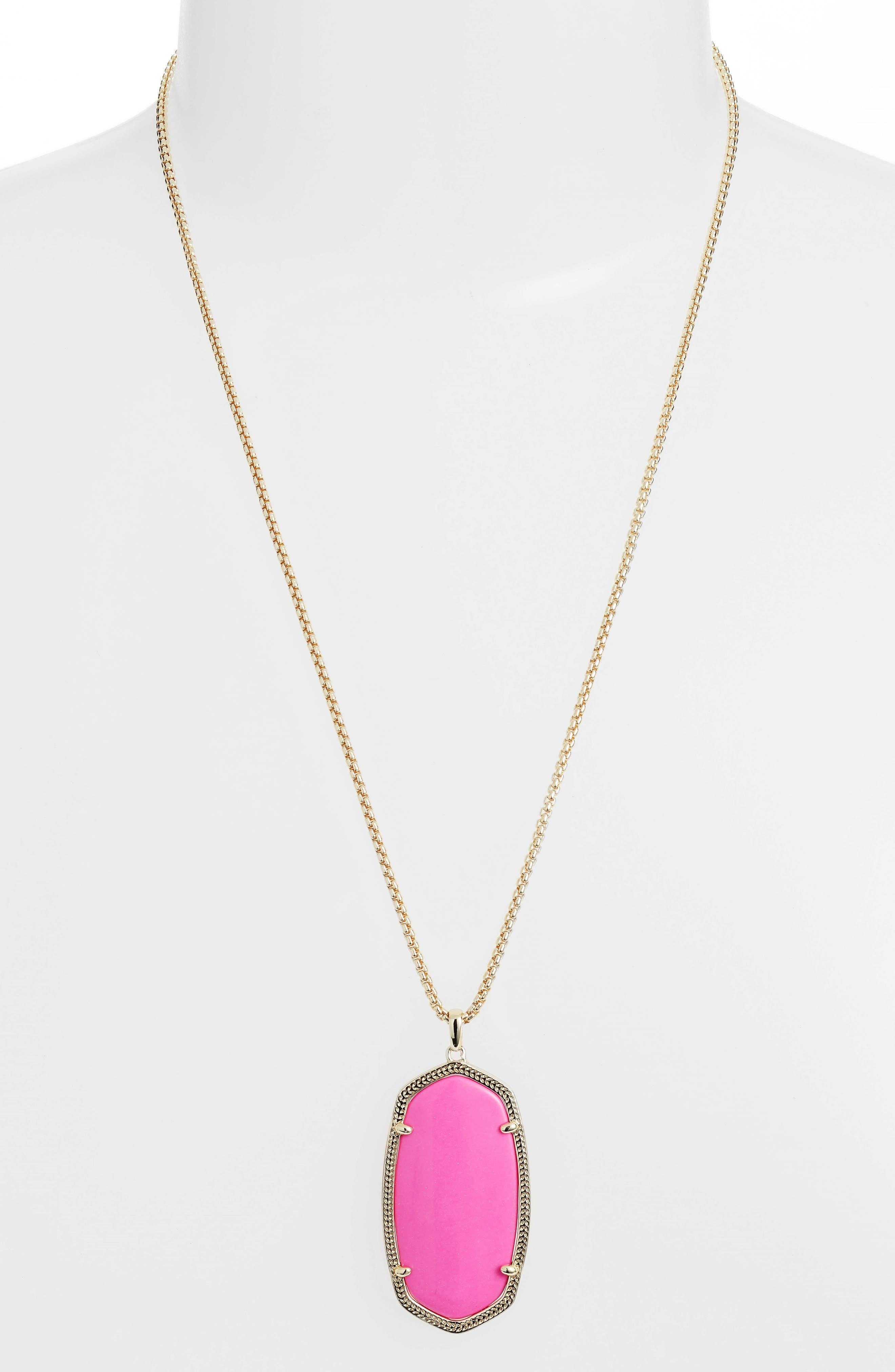 Reid Adjustable Necklace, Magenta Magnesite/ Gold