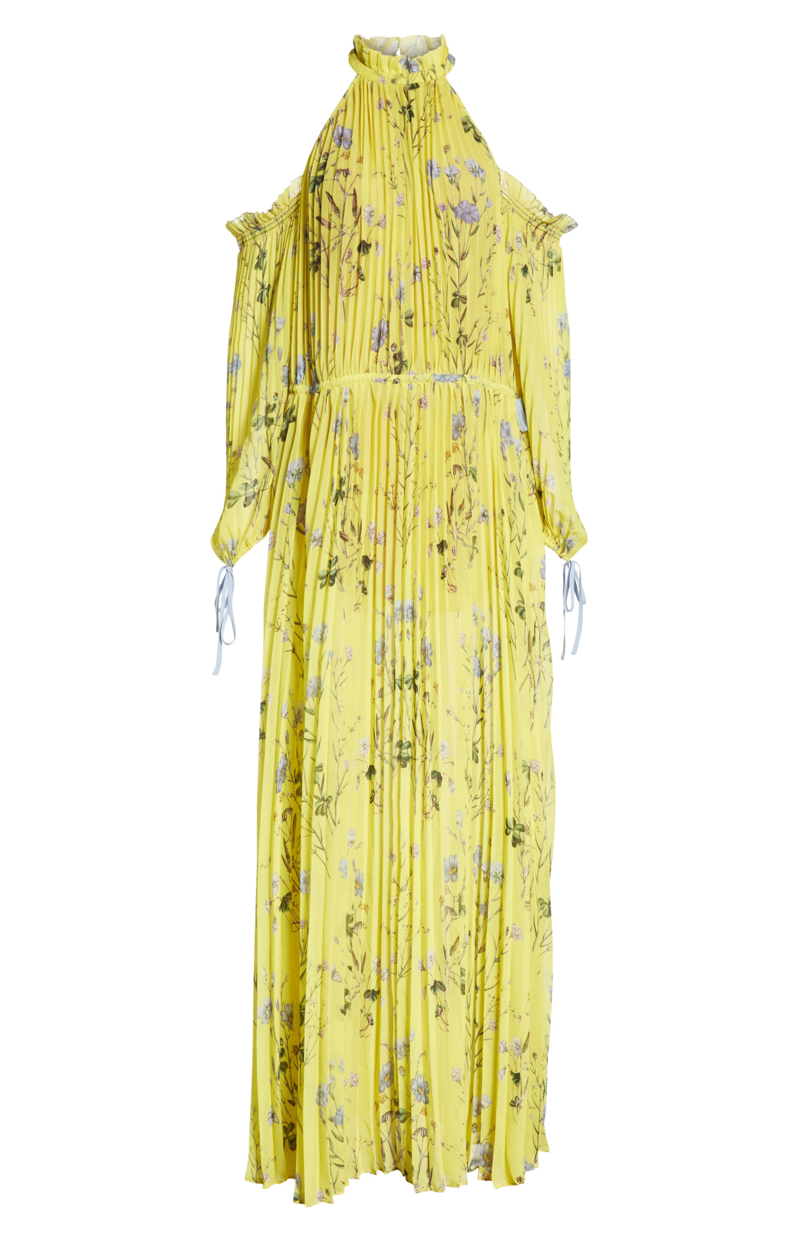 Floral Pleated Cold Shoulder Maxi Dress,                             Alternate thumbnail 6, color,                             Yellow