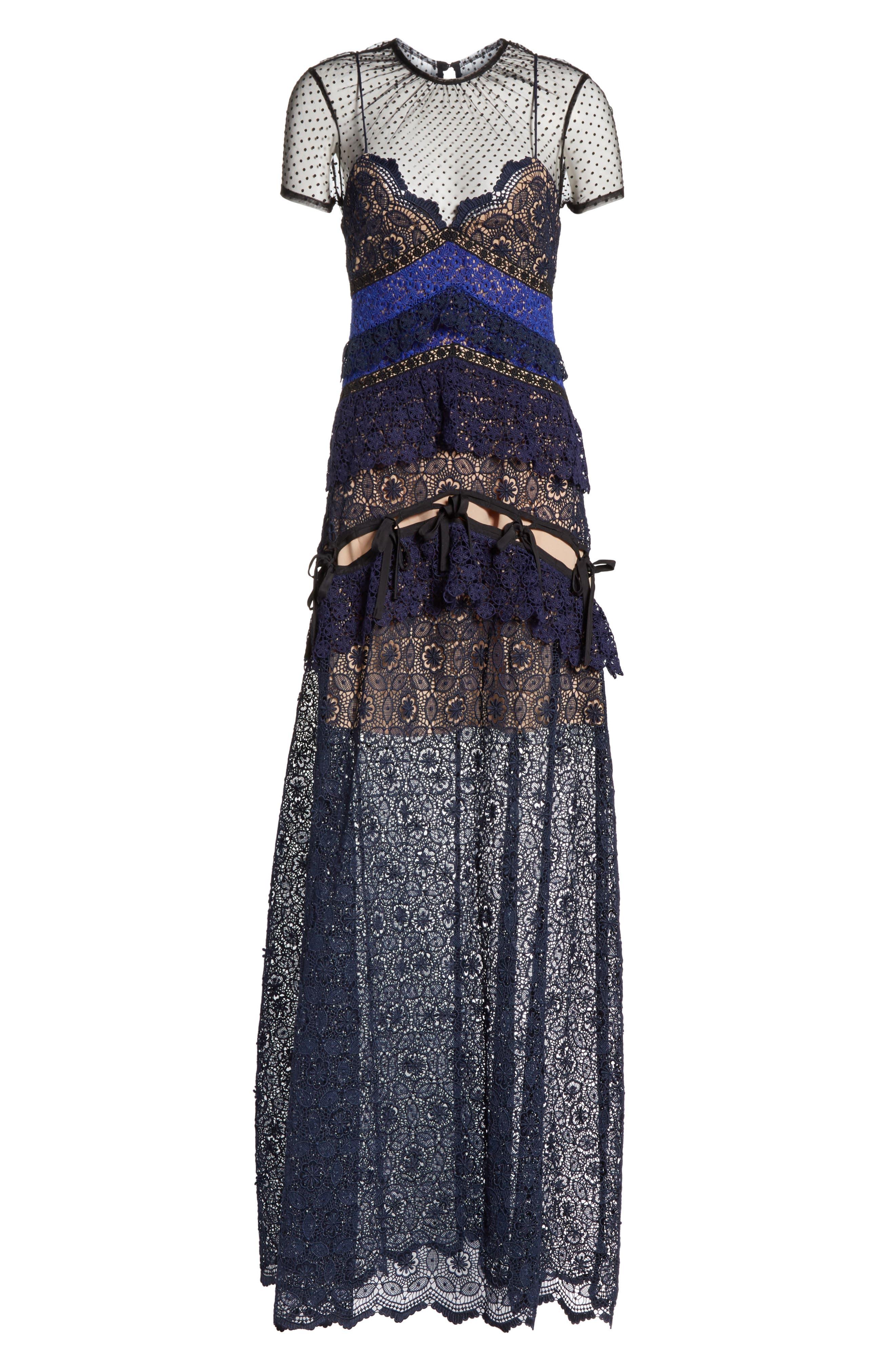 Paneled Lace Maxi Dress,                             Alternate thumbnail 6, color,                             Navy