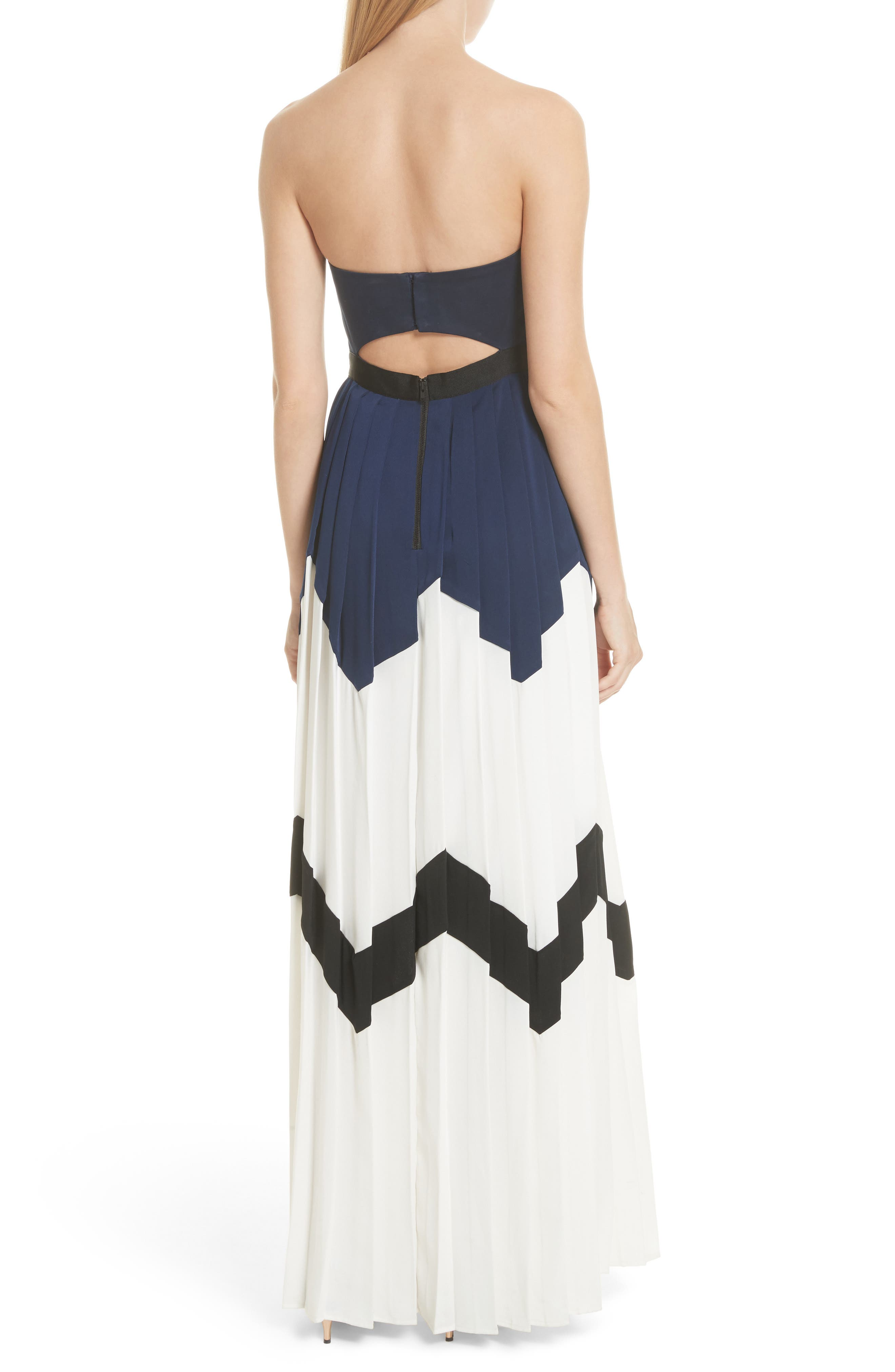 Pleated Bandeau Strapless Maxi Dress,                             Alternate thumbnail 2, color,                             Navy/ White