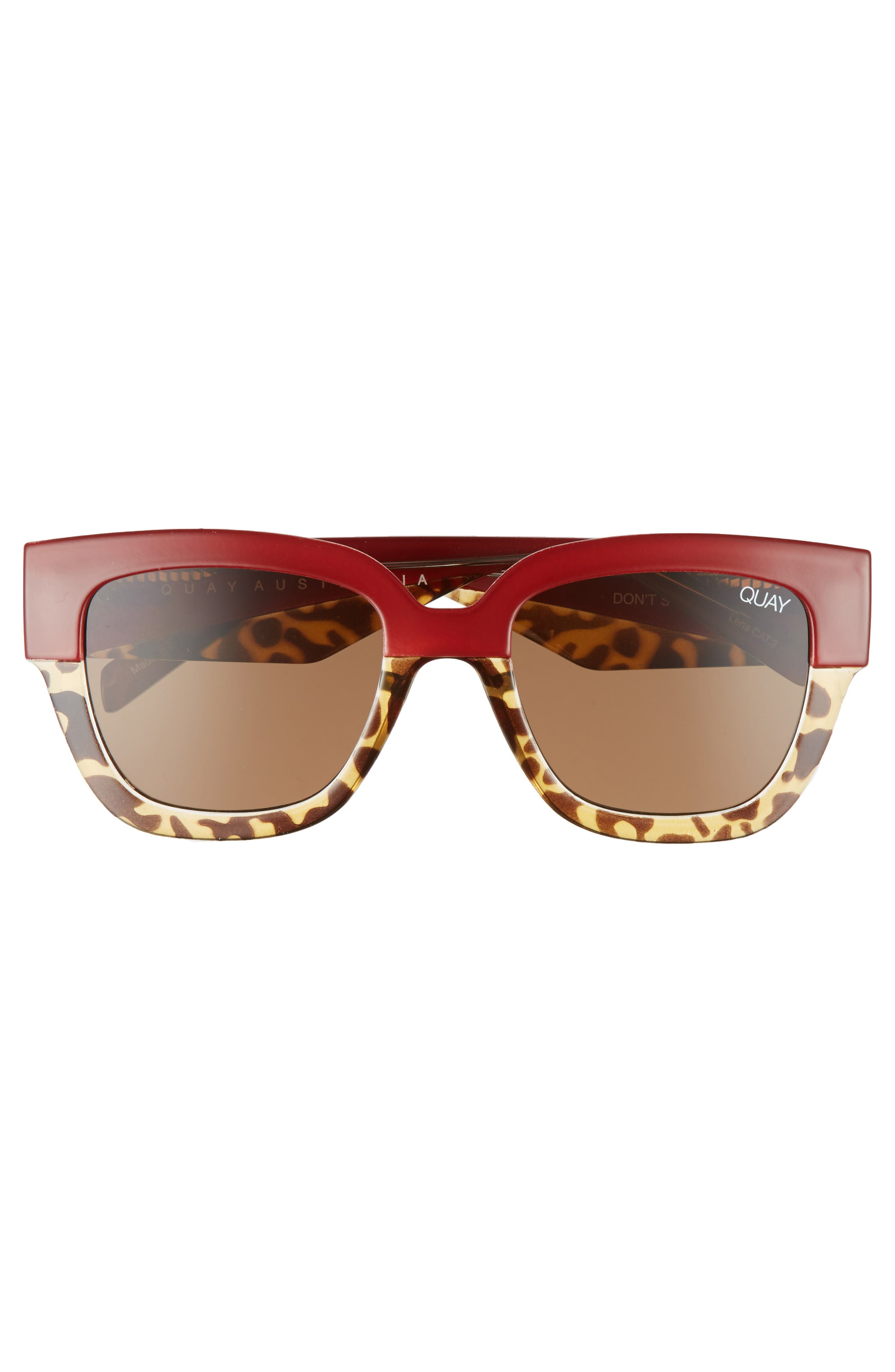 55mm Don't Stop Sunglasses,                             Alternate thumbnail 6, color,                             Red/ Tort/ Brown