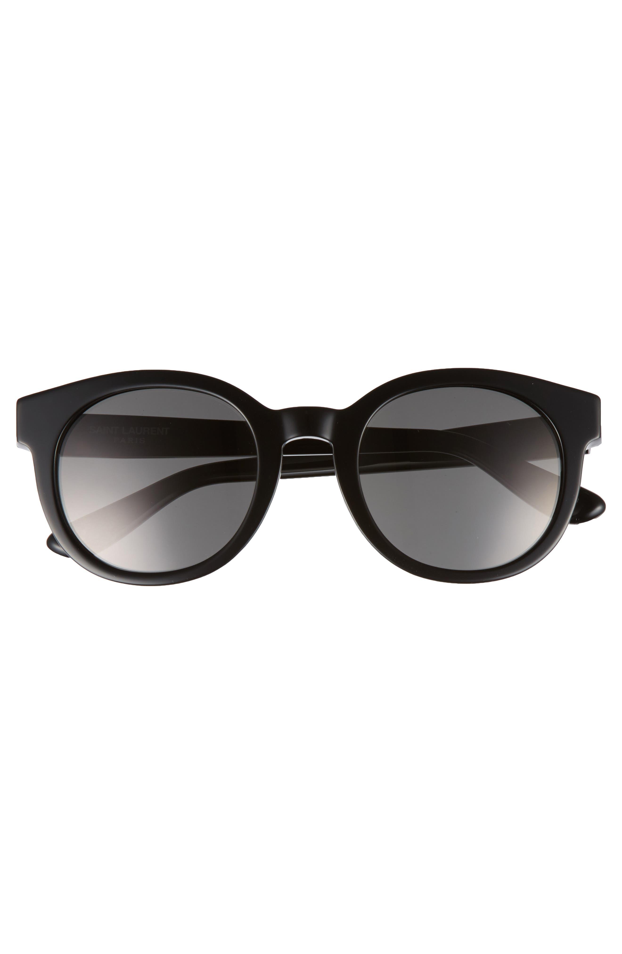 51mm Round Sunglasses,                             Alternate thumbnail 3, color,                             Black