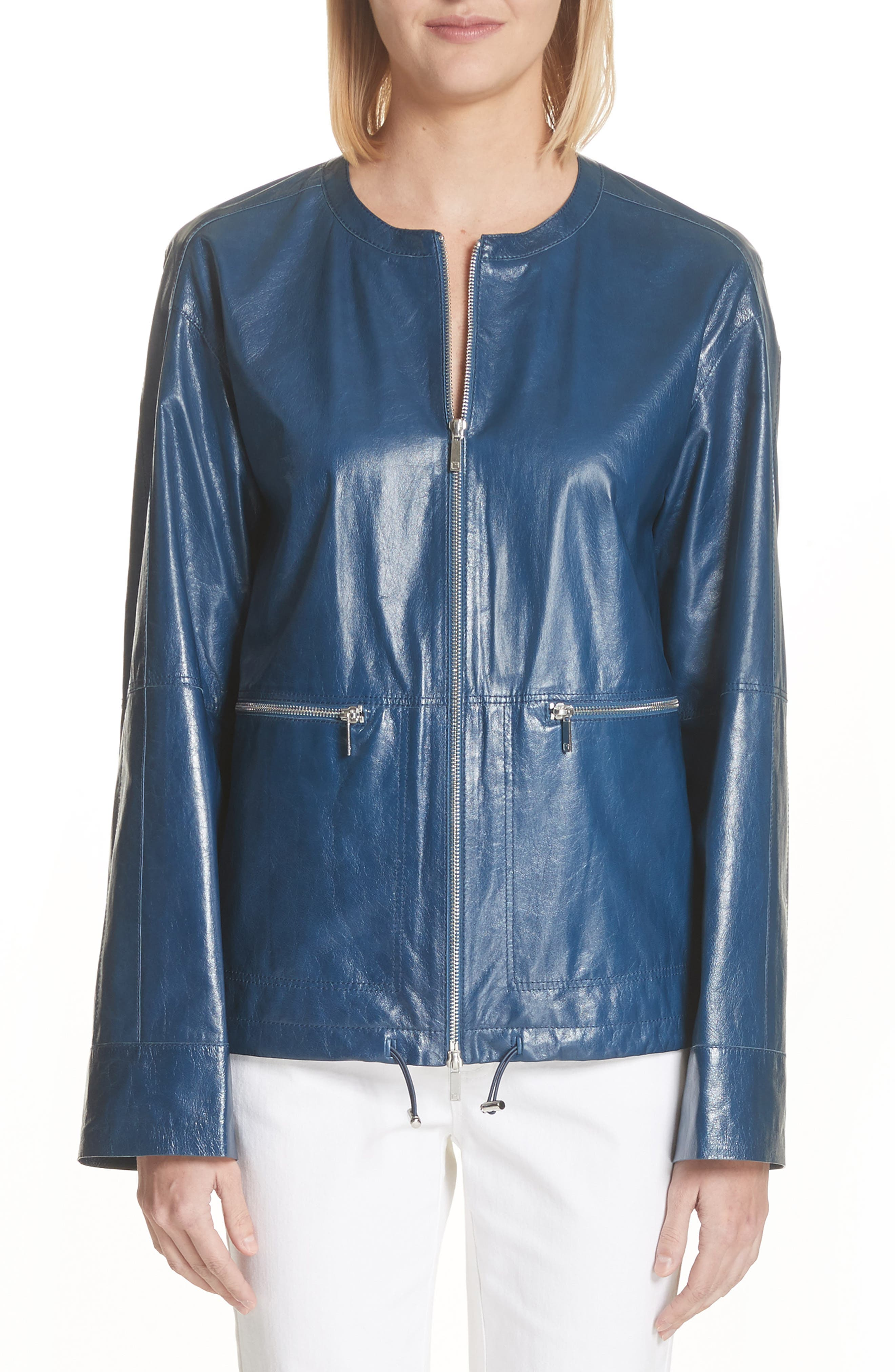 Fleming Leather Jacket,                         Main,                         color, Majolica Blue
