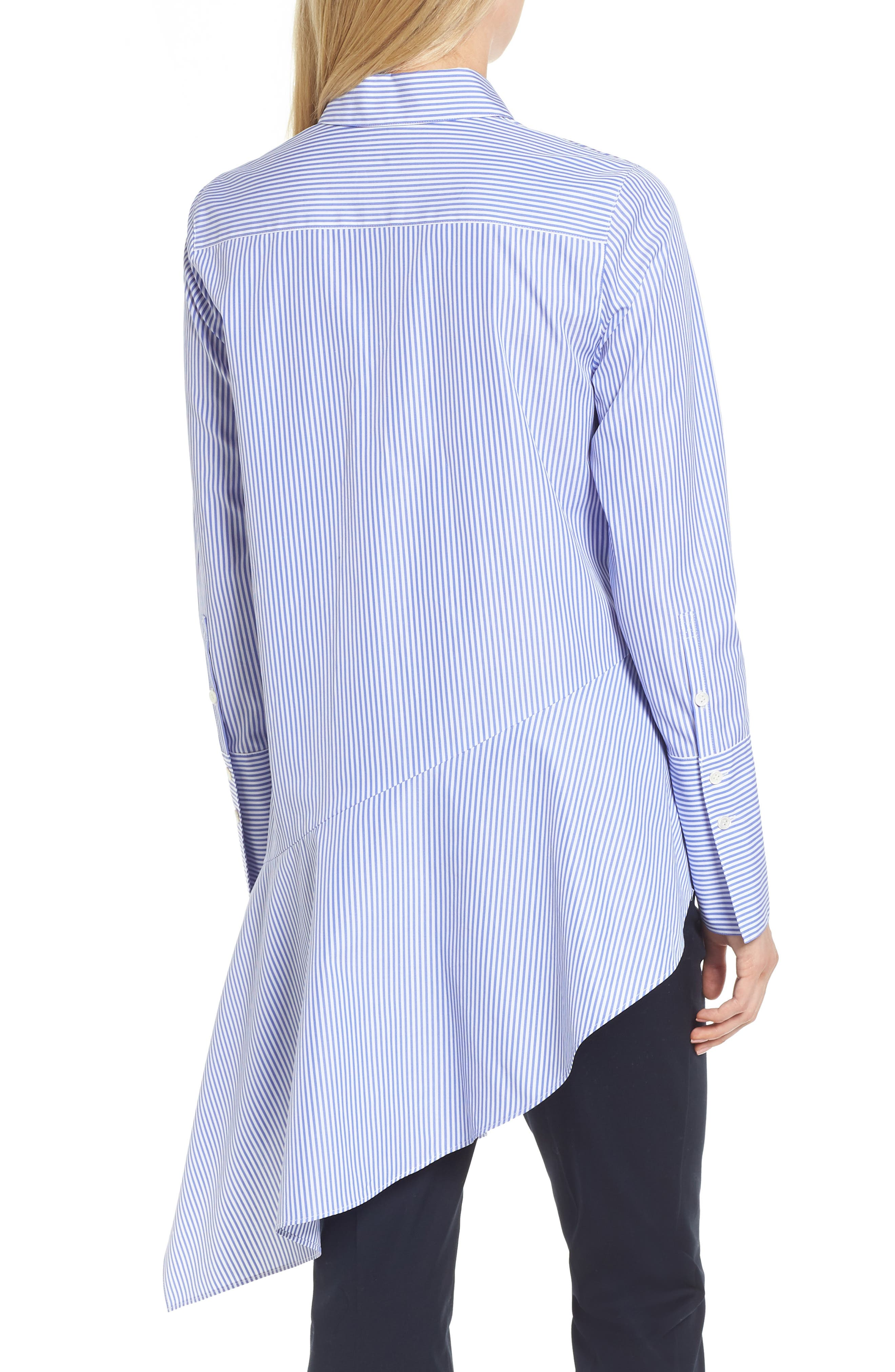Asymmetrical Stripe Shirt,                             Alternate thumbnail 2, color,                             Blue Denim Stripe