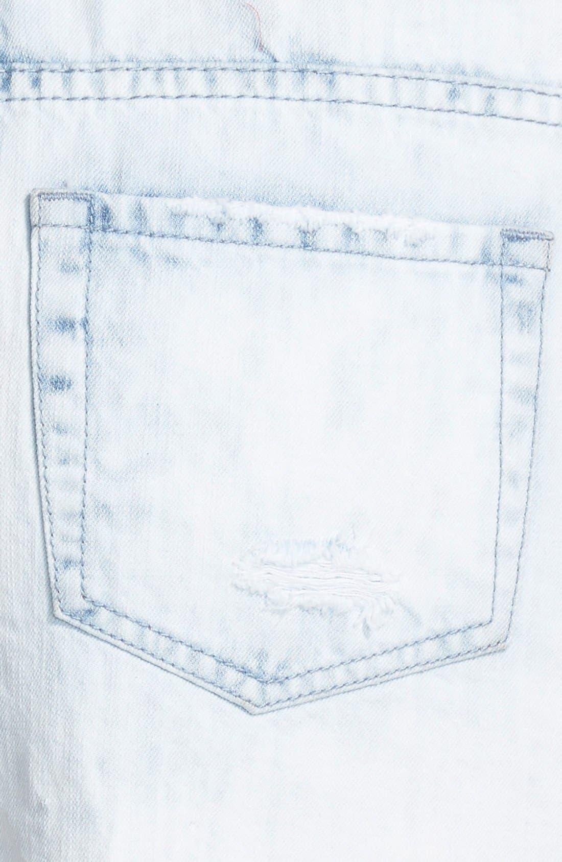 Alternate Image 3  - Sun & Shadow 'Pretty Pocket' Lace Trim High Waist Denim Cutoff Shorts (Juniors)