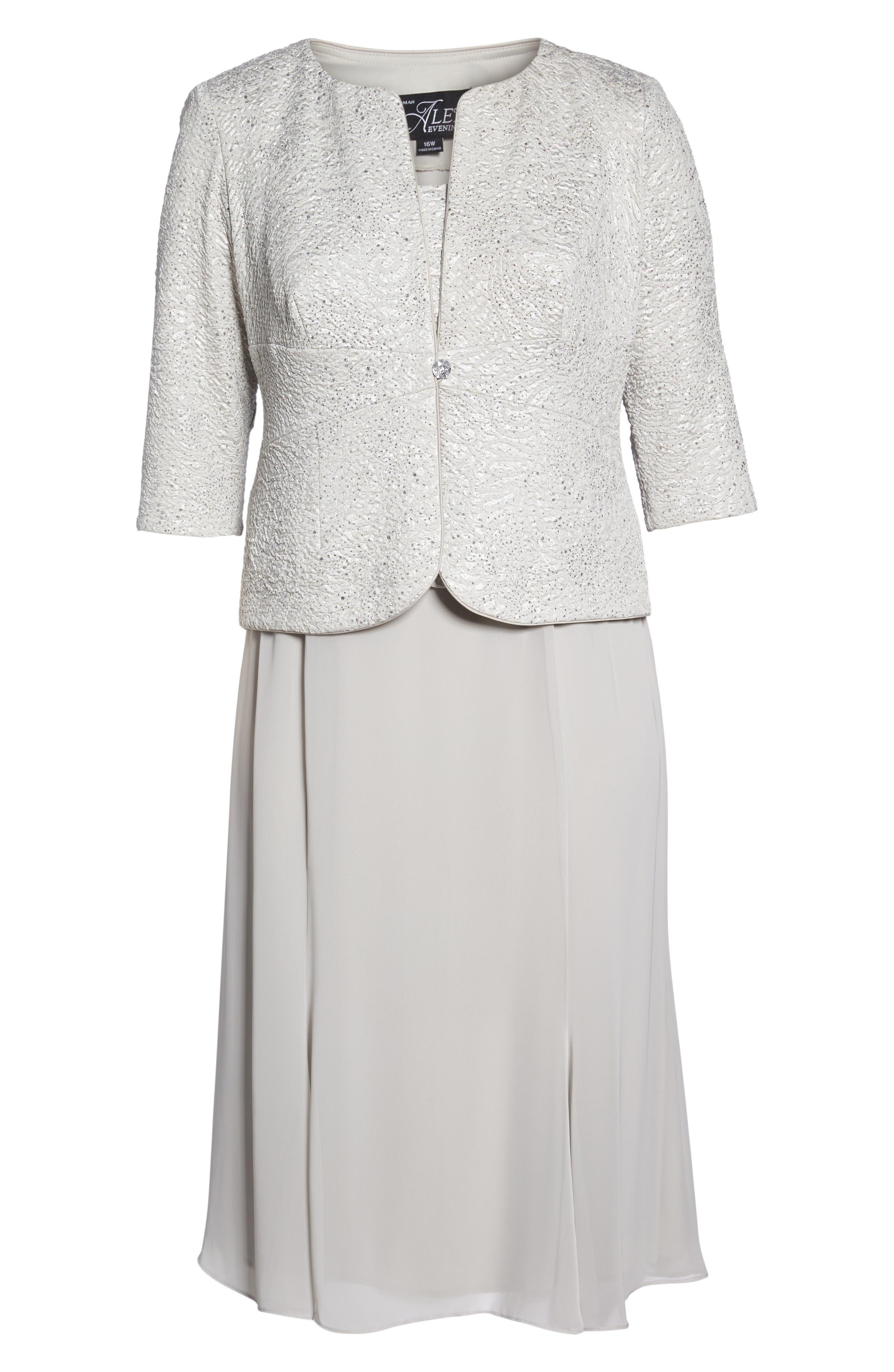 Mock Two-Piece Jacket Dress,                             Alternate thumbnail 4, color,                             Silver