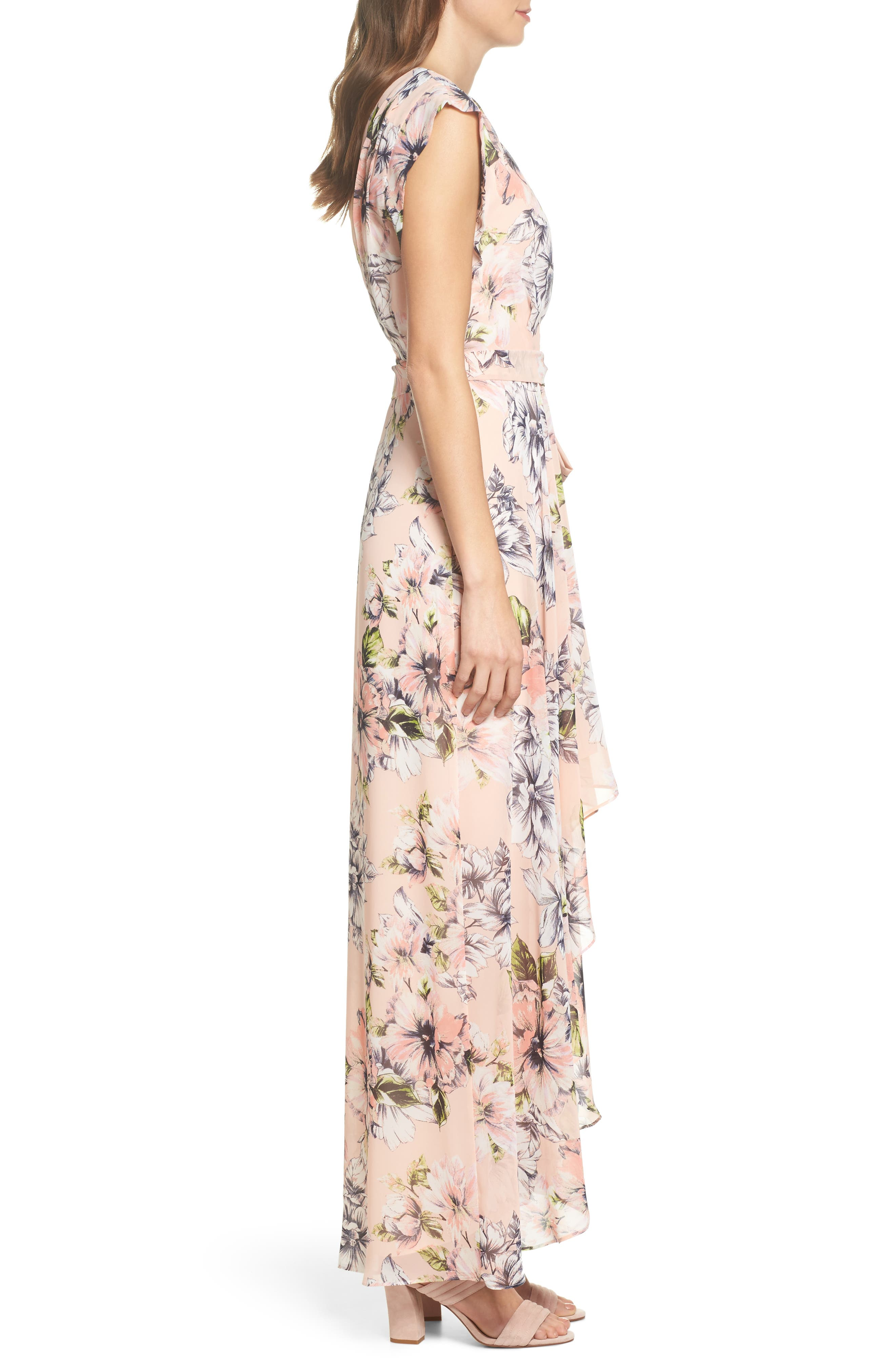 Floral Ruffle High/Low Maxi Dress,                             Alternate thumbnail 3, color,                             Blush