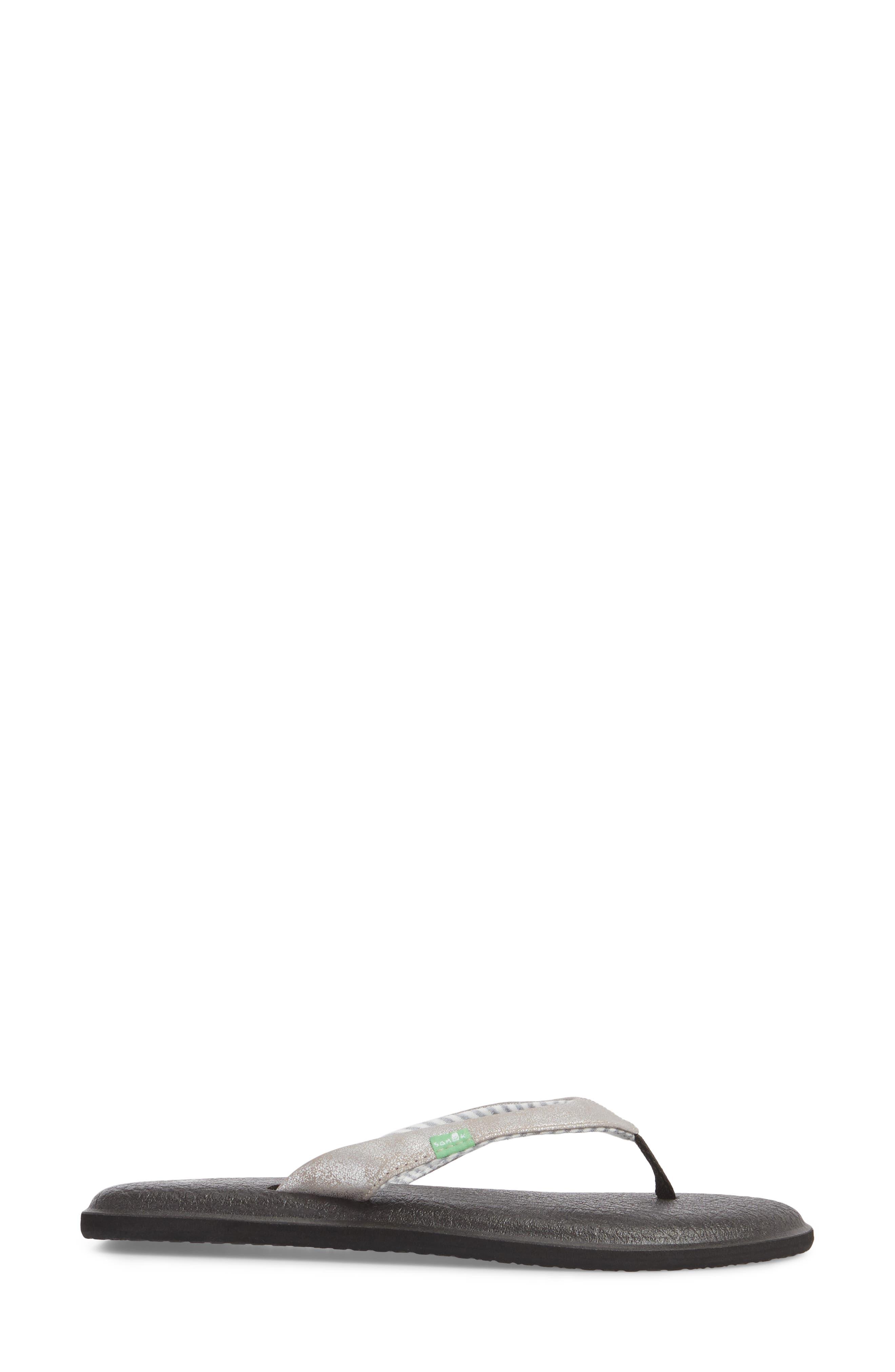 'Yoga Chakra' Flip Flop,                             Alternate thumbnail 3, color,                             Silver