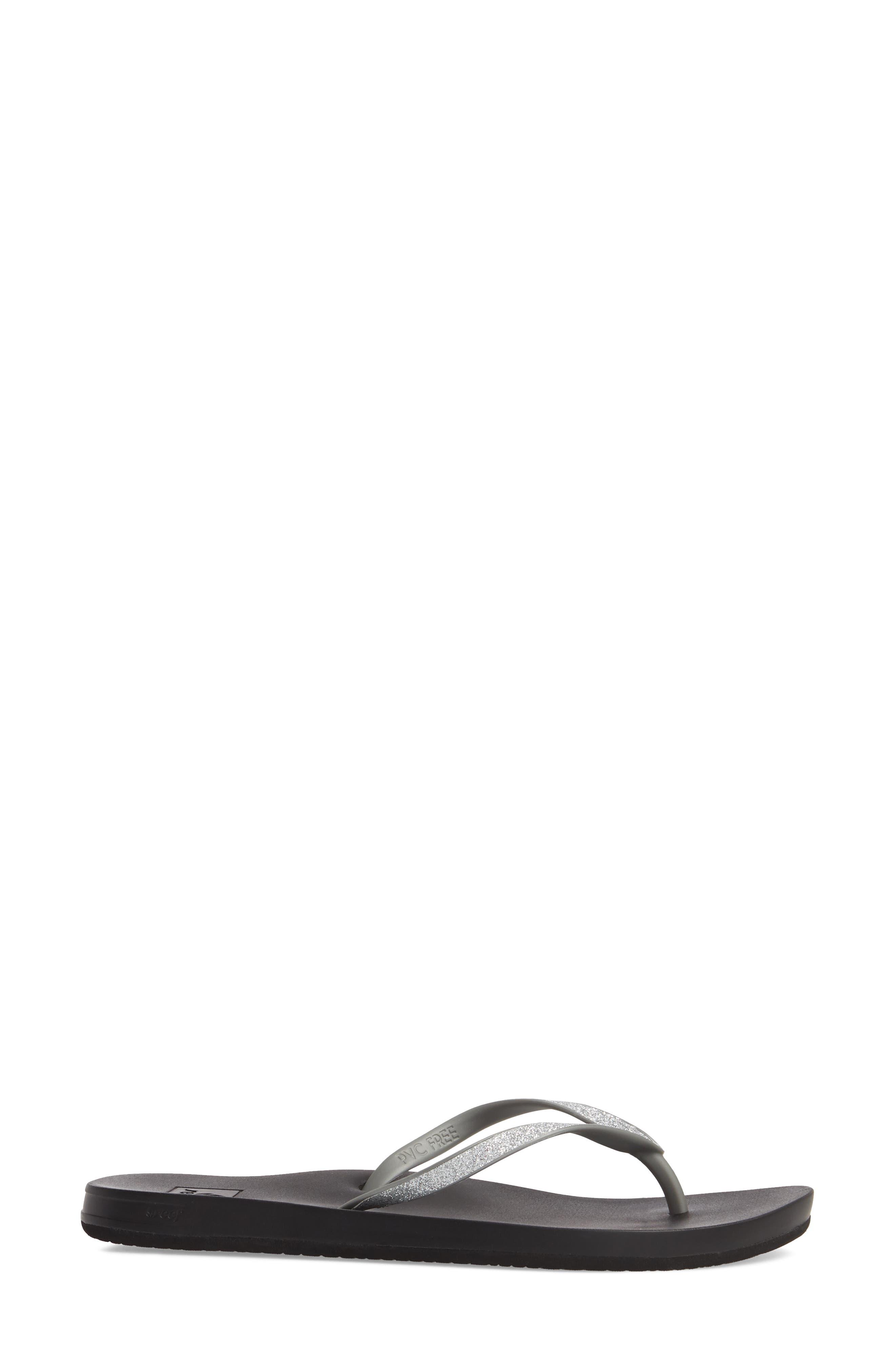 Cushion Bounce Stargazer Flip Flop,                             Alternate thumbnail 3, color,                             Silver