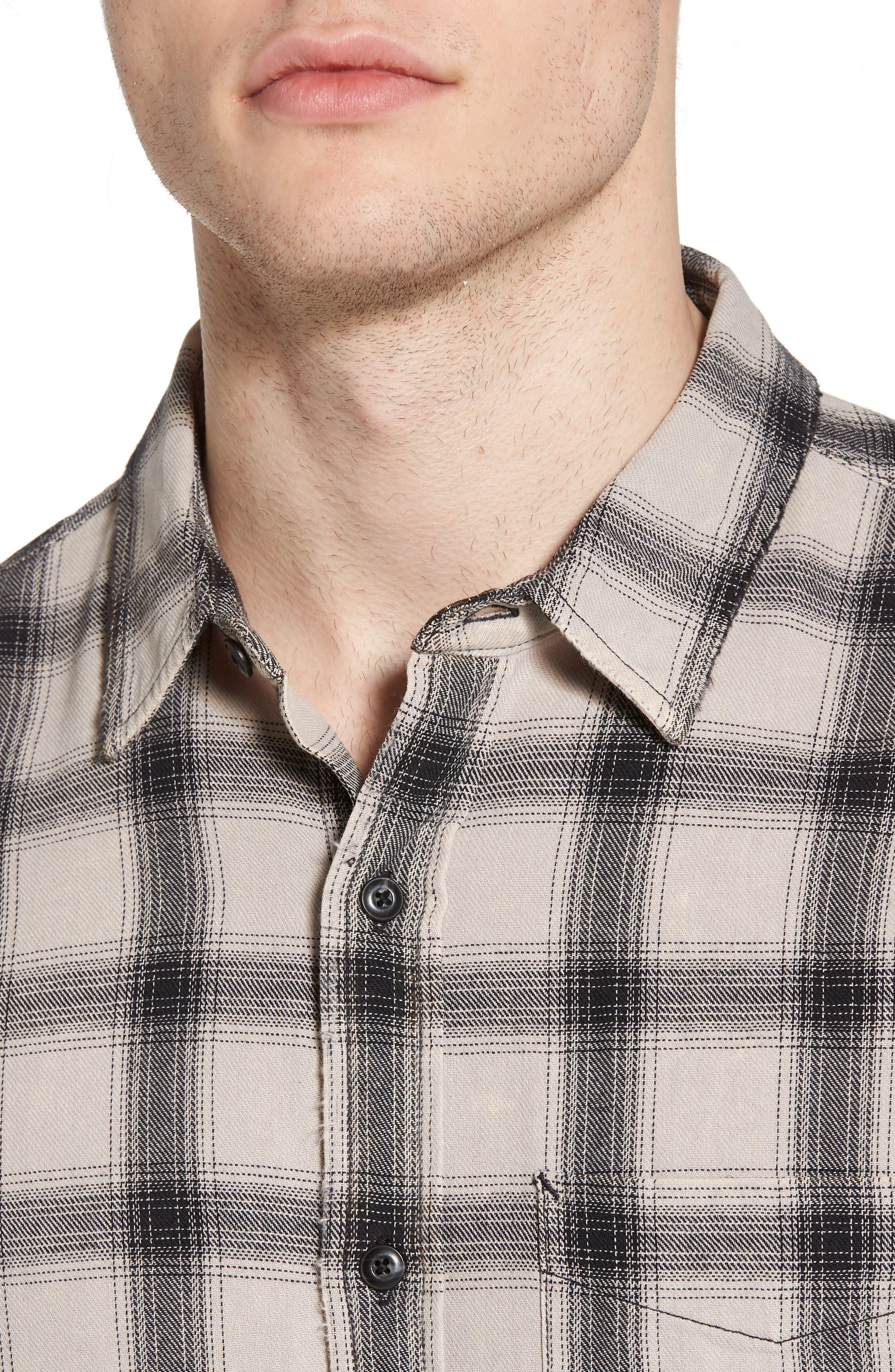 Colton Slim Fit Plaid Sport Shirt,                             Alternate thumbnail 4, color,                             15 Years Mineral Veil/ Black