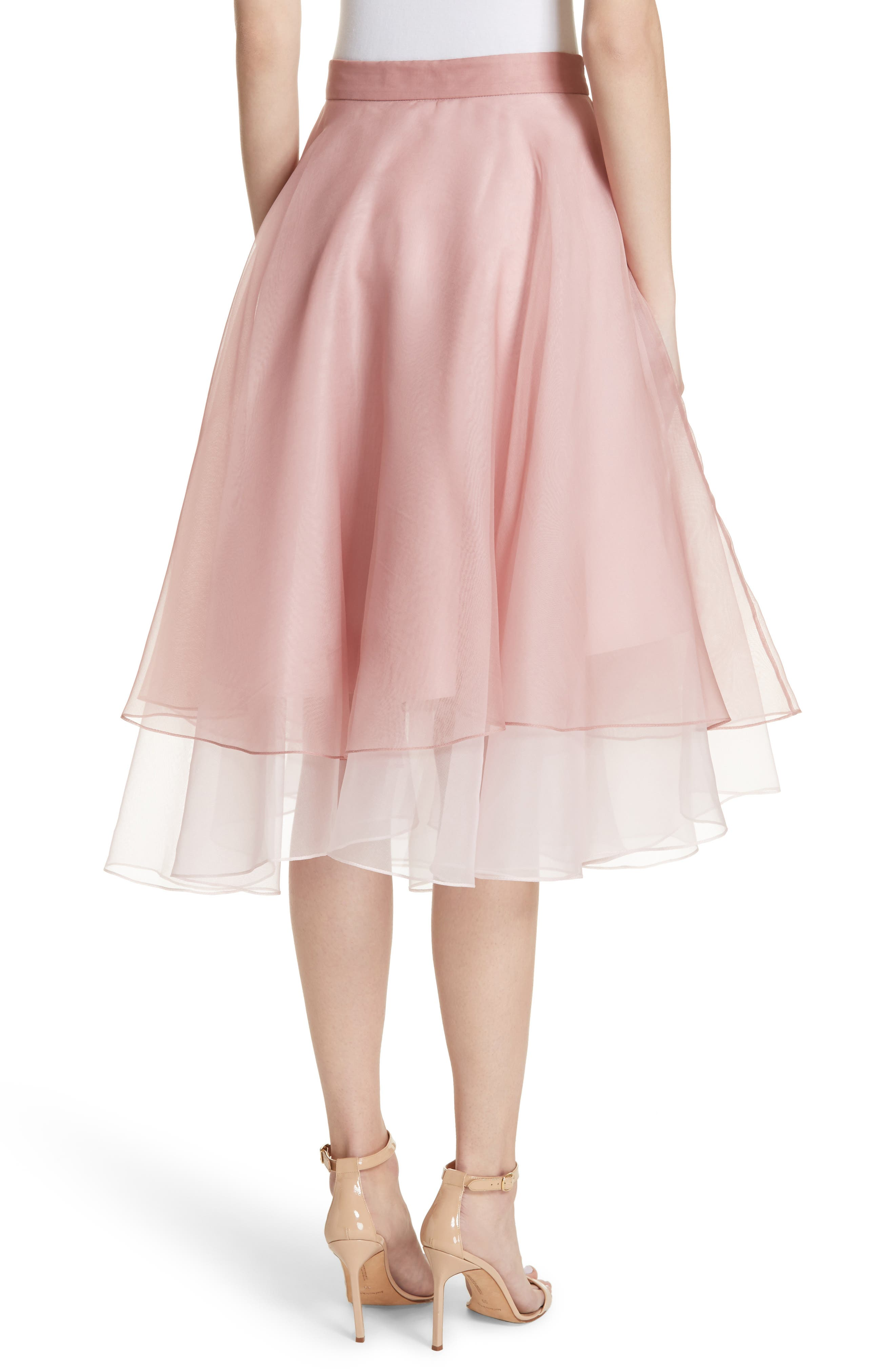 Layered Organza A-Line Skirt,                             Alternate thumbnail 2, color,                             Nude/ Petal