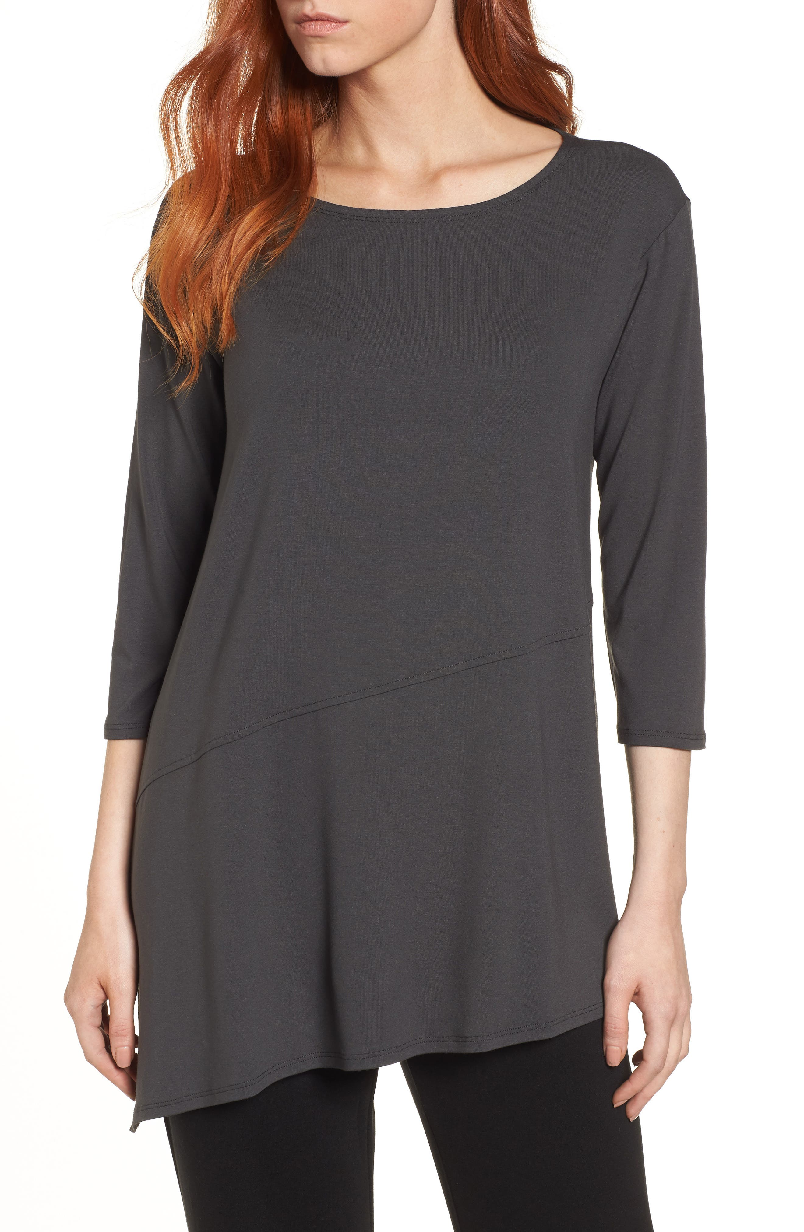 Asymmetrical Jersey Top,                         Main,                         color, Graphite