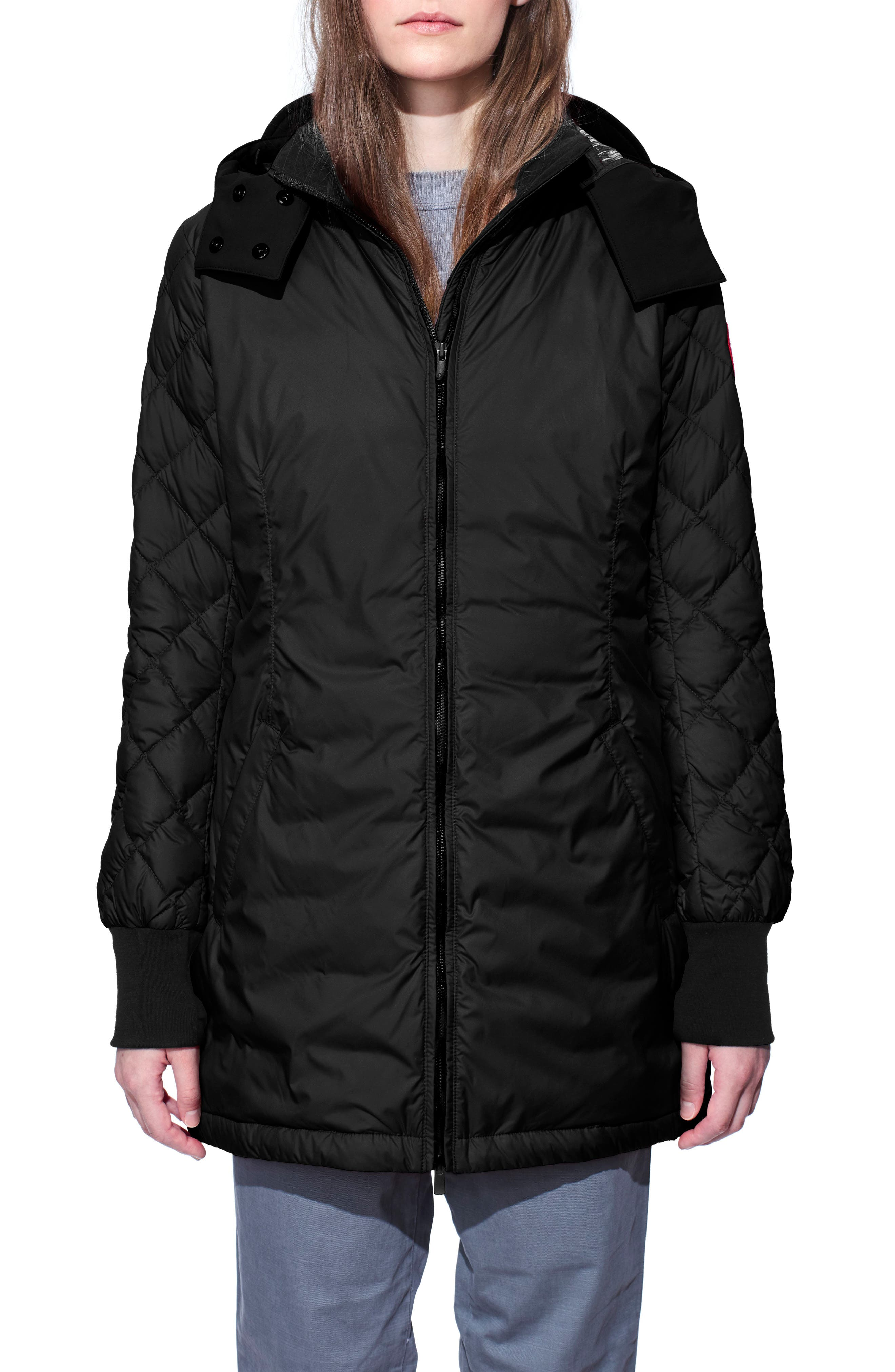 Stellarton Slim Fit Down Coat,                             Main thumbnail 1, color,                             Black/ Black