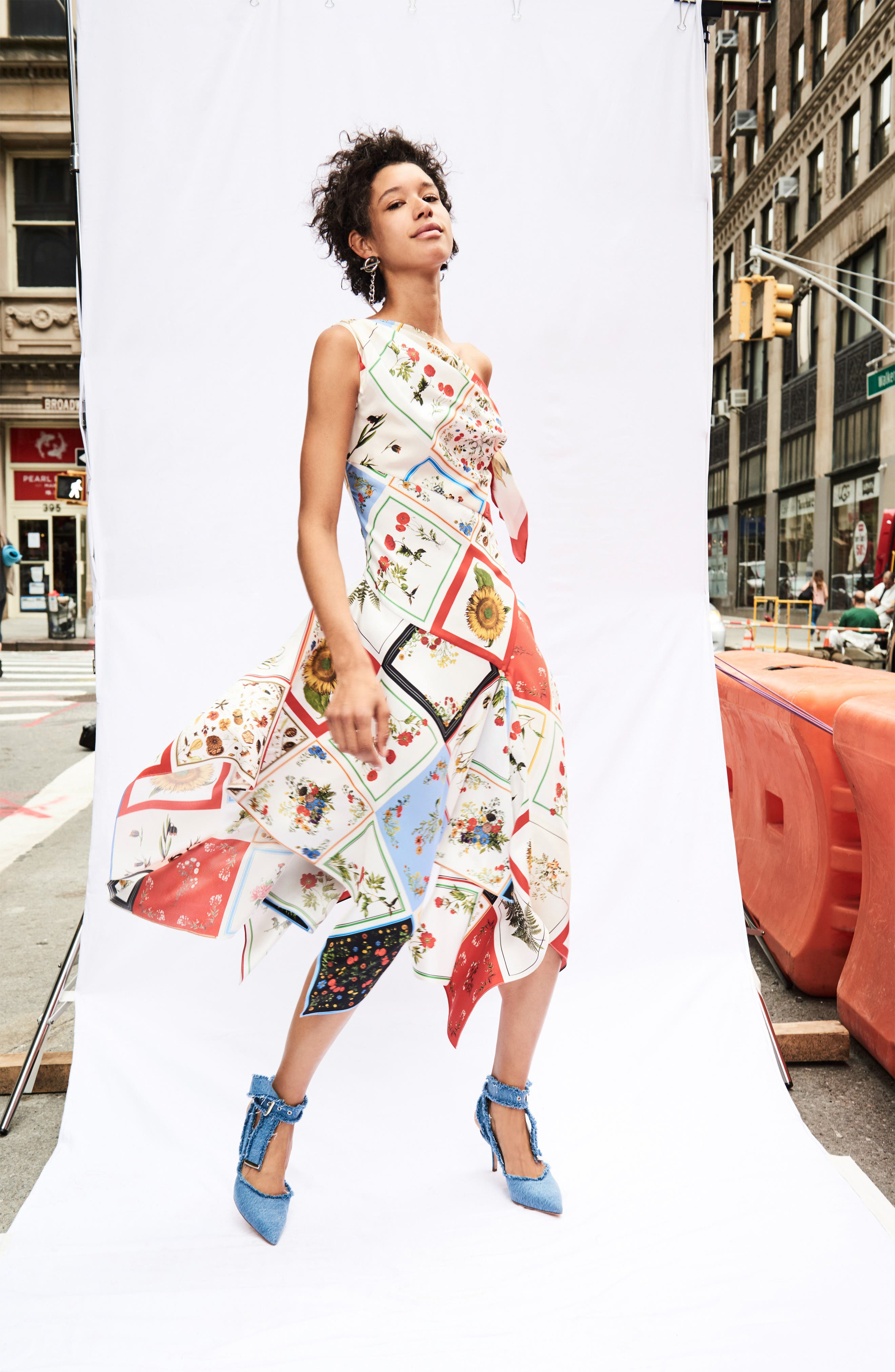 Alternate Image 2  - Monse Patchwork Silk One-Shoulder Dress