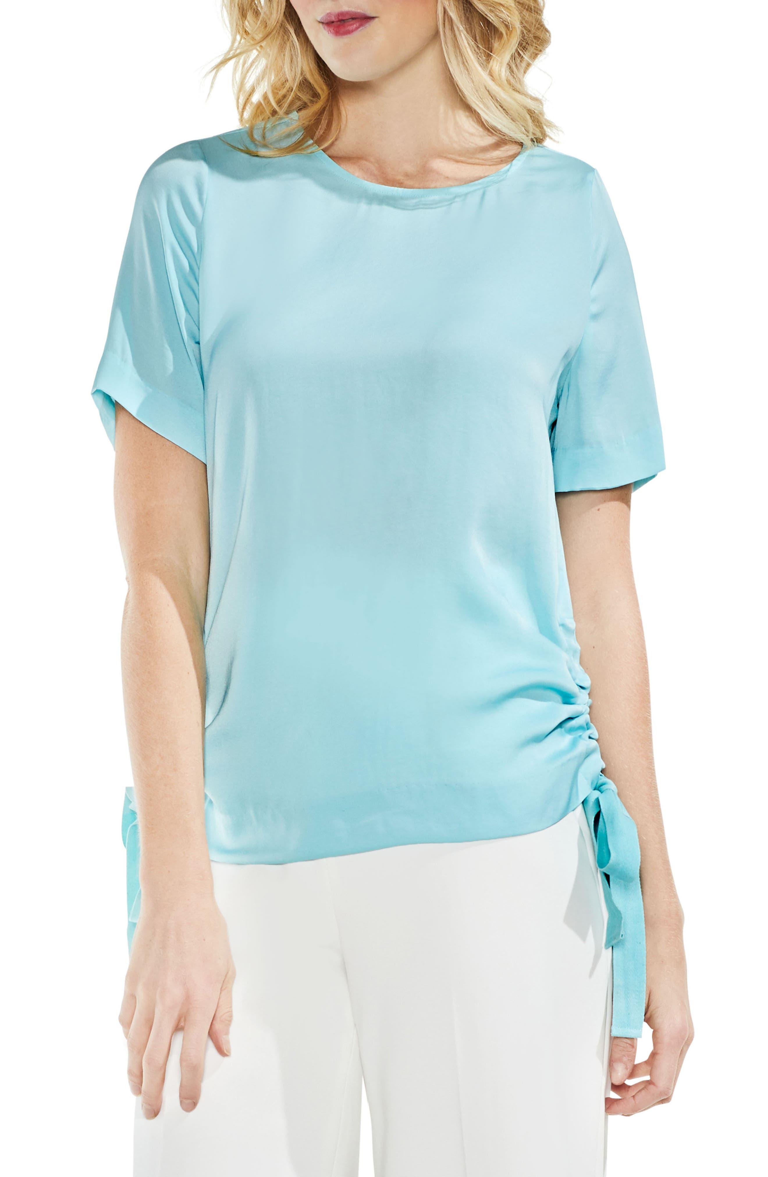 Side Drawstring Rumple Blouse,                         Main,                         color, Aqua Glow