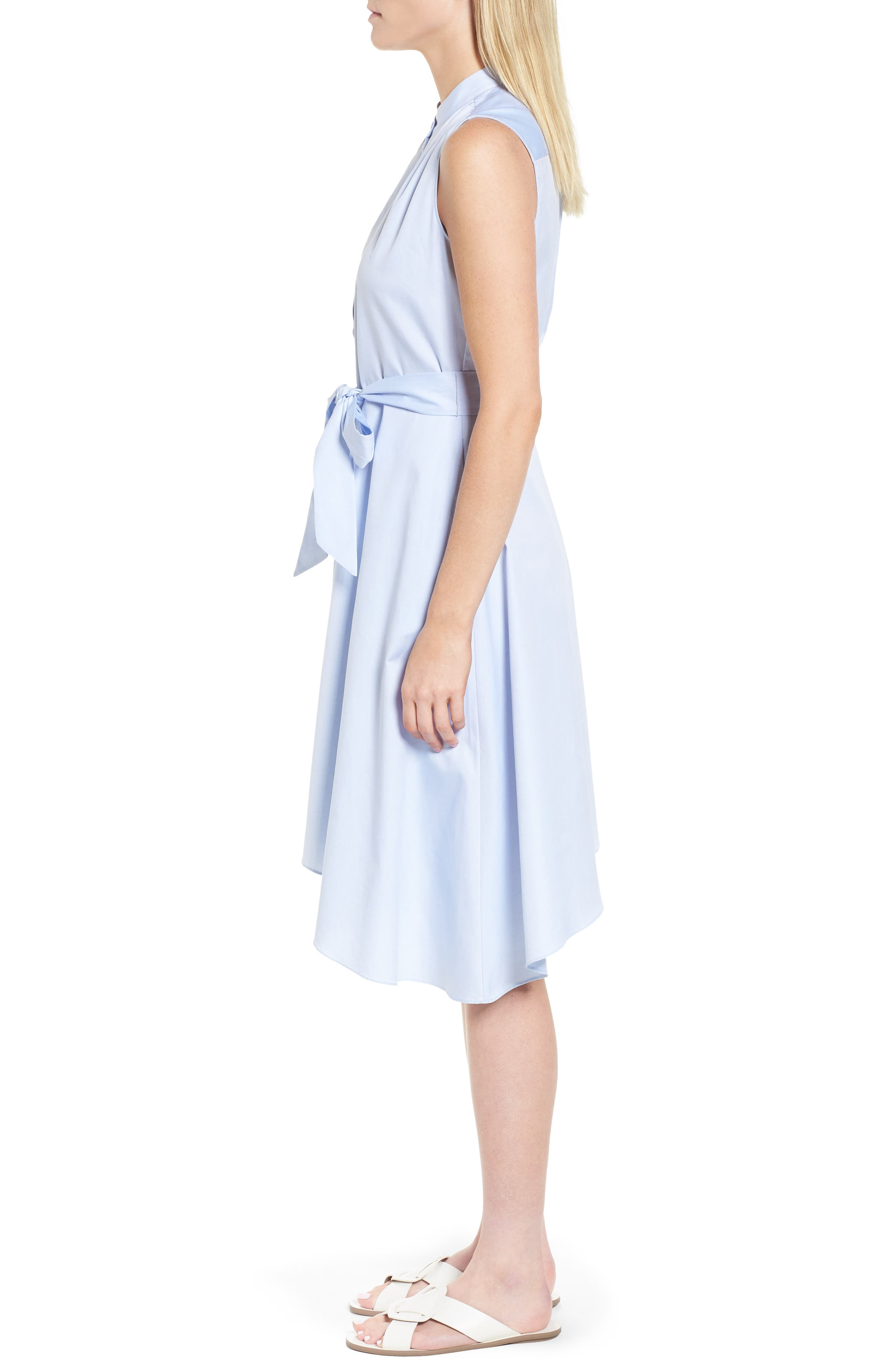 Asymmetrical Shirtdress,                             Alternate thumbnail 3, color,                             Blue Feather