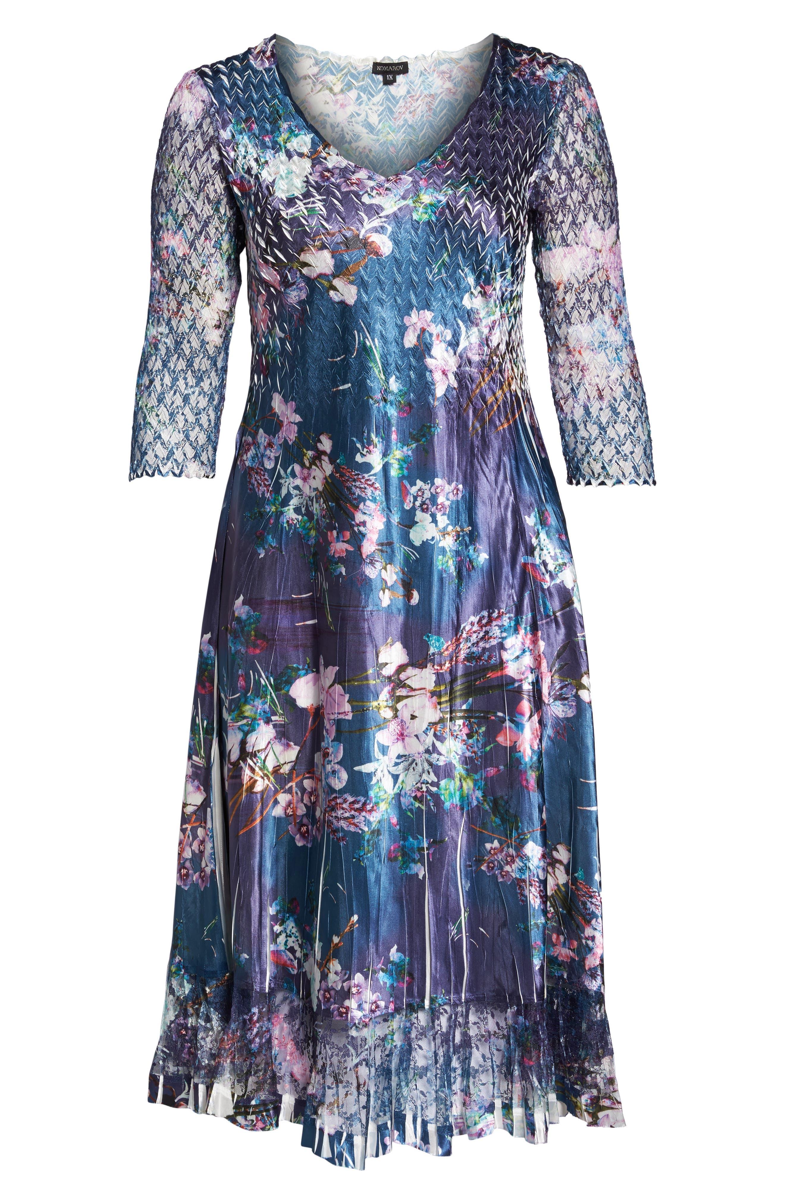 Kamarov Floral Charmeuse & Chiffon Dress,                             Alternate thumbnail 5, color,                             Pixel Meadow