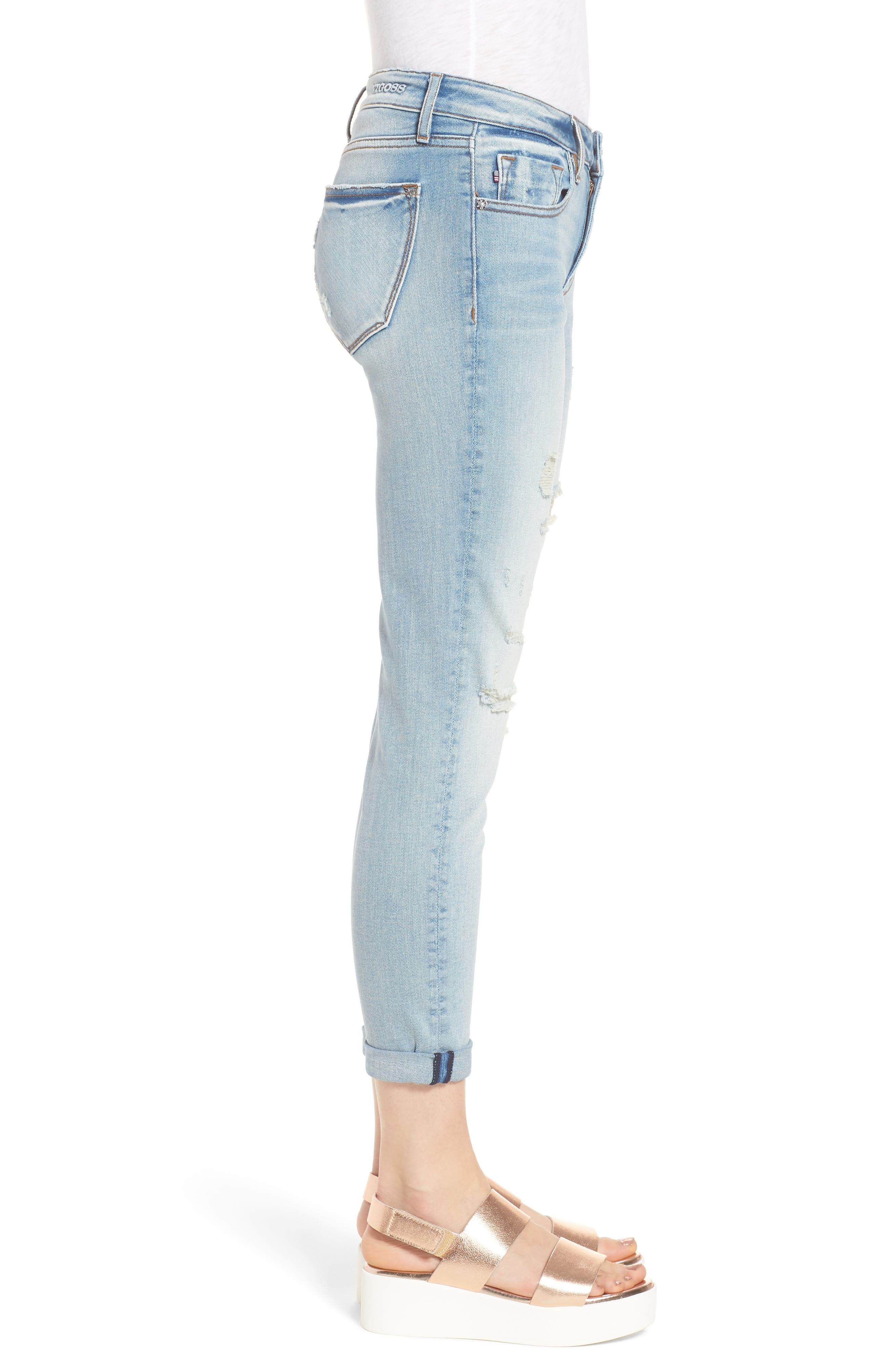 Thompson Tomboy Distressed Skinny Jeans,                             Alternate thumbnail 3, color,                             Light Wash