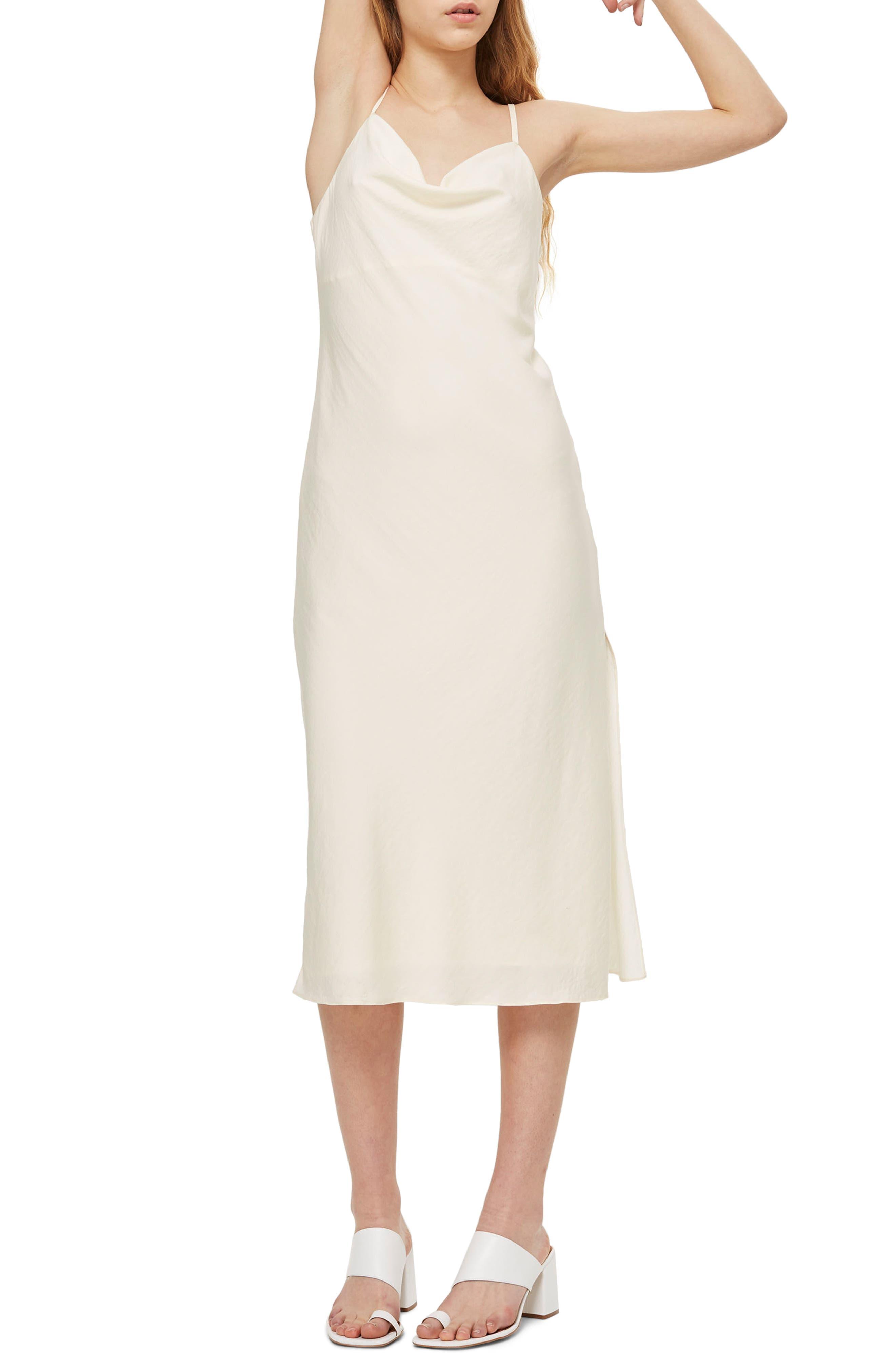 Topshop Cowl Neck Satin Midi Dress