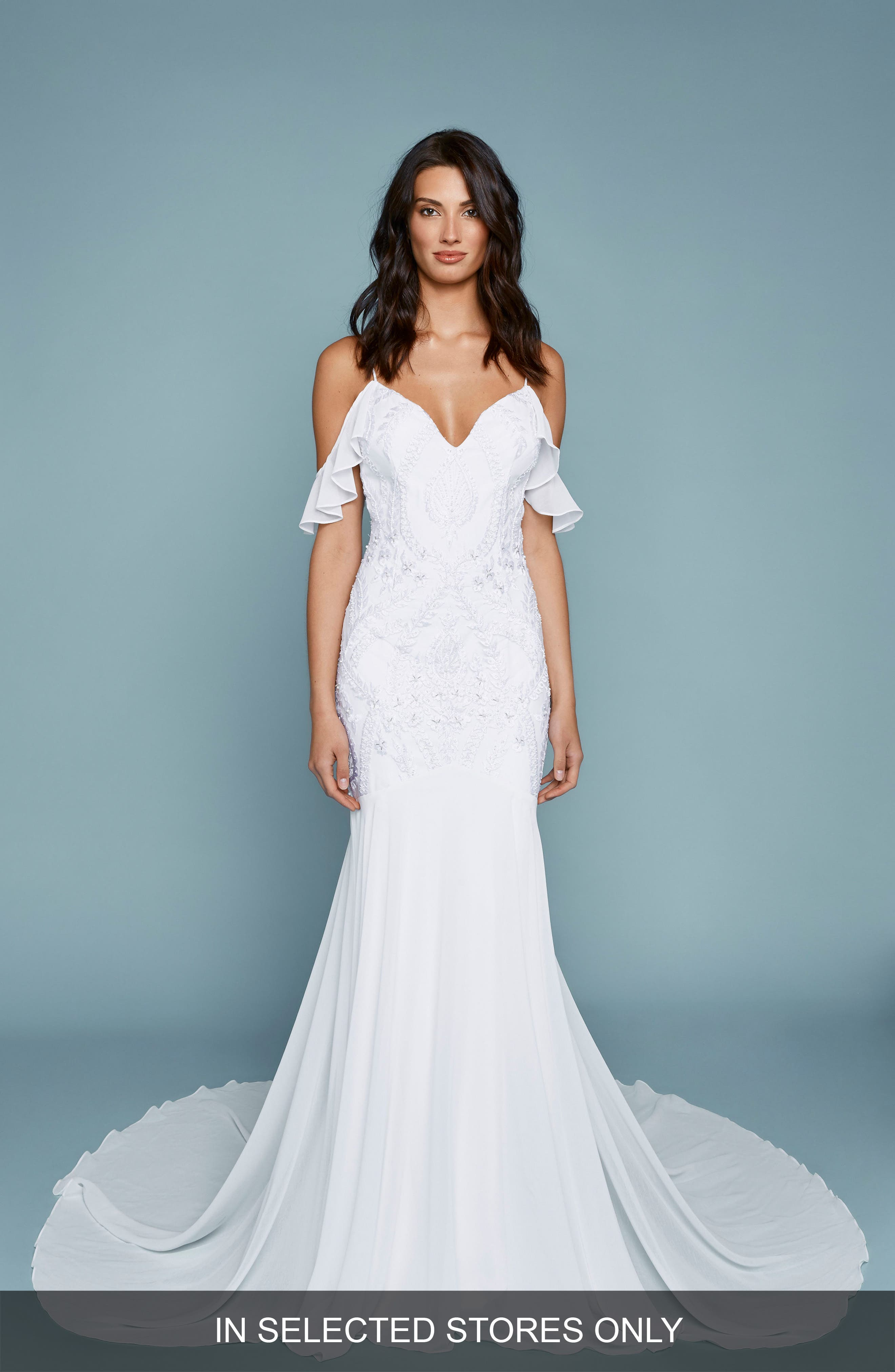 Embroidered Chiffon Off the Shoulder Mermaid Gown,                         Main,                         color, Ivory/ Ivory