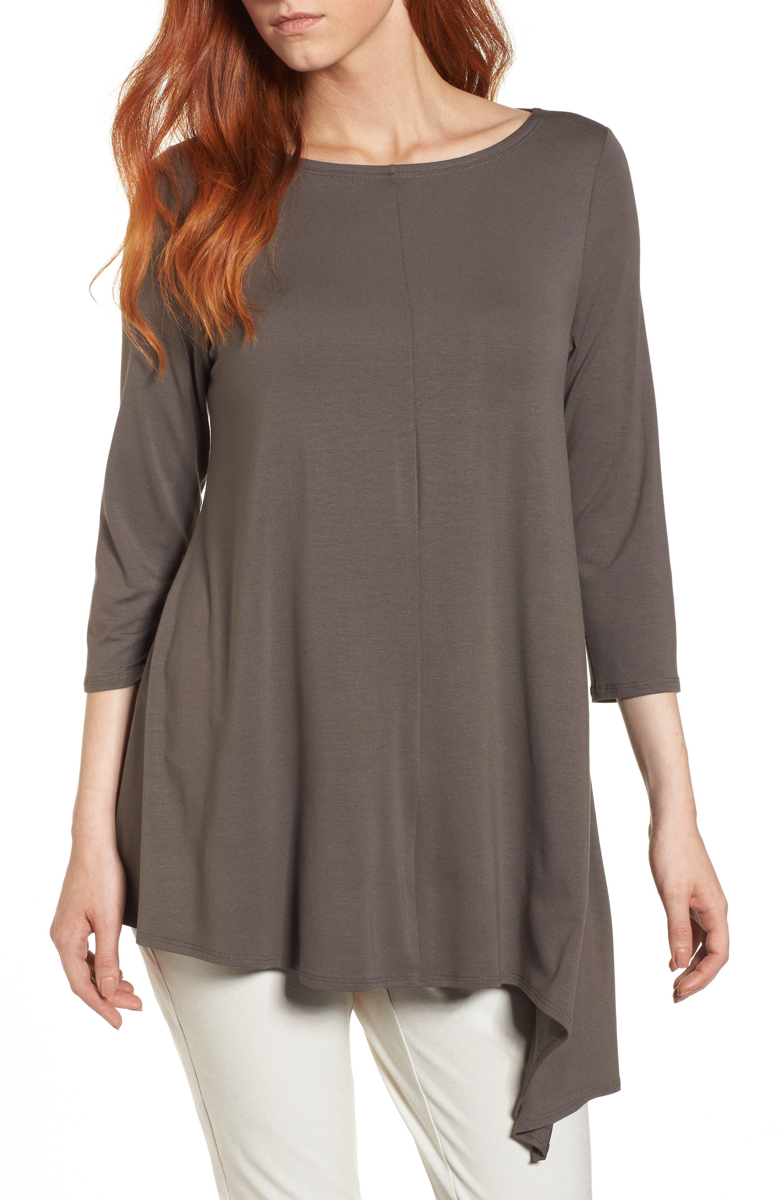 Asymmetrical Jersey Top,                         Main,                         color, Rye
