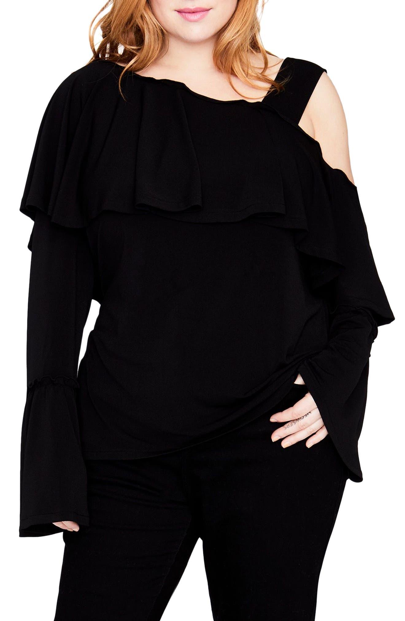 Cold Shoulder Ruffle Top,                         Main,                         color, Black