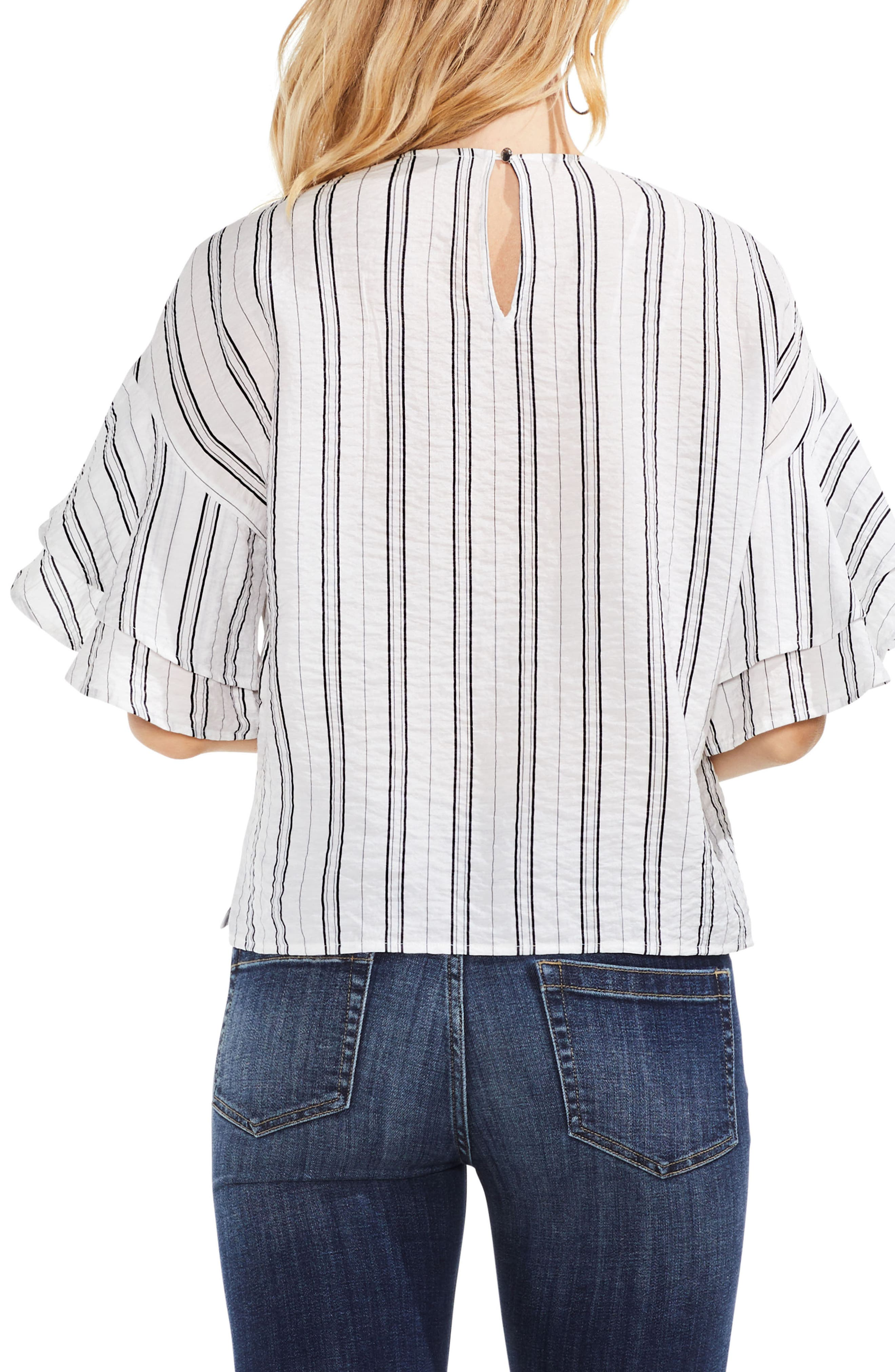Tiered Ruffle Sleeve Stripe Blouse,                             Alternate thumbnail 2, color,                             New Ivory