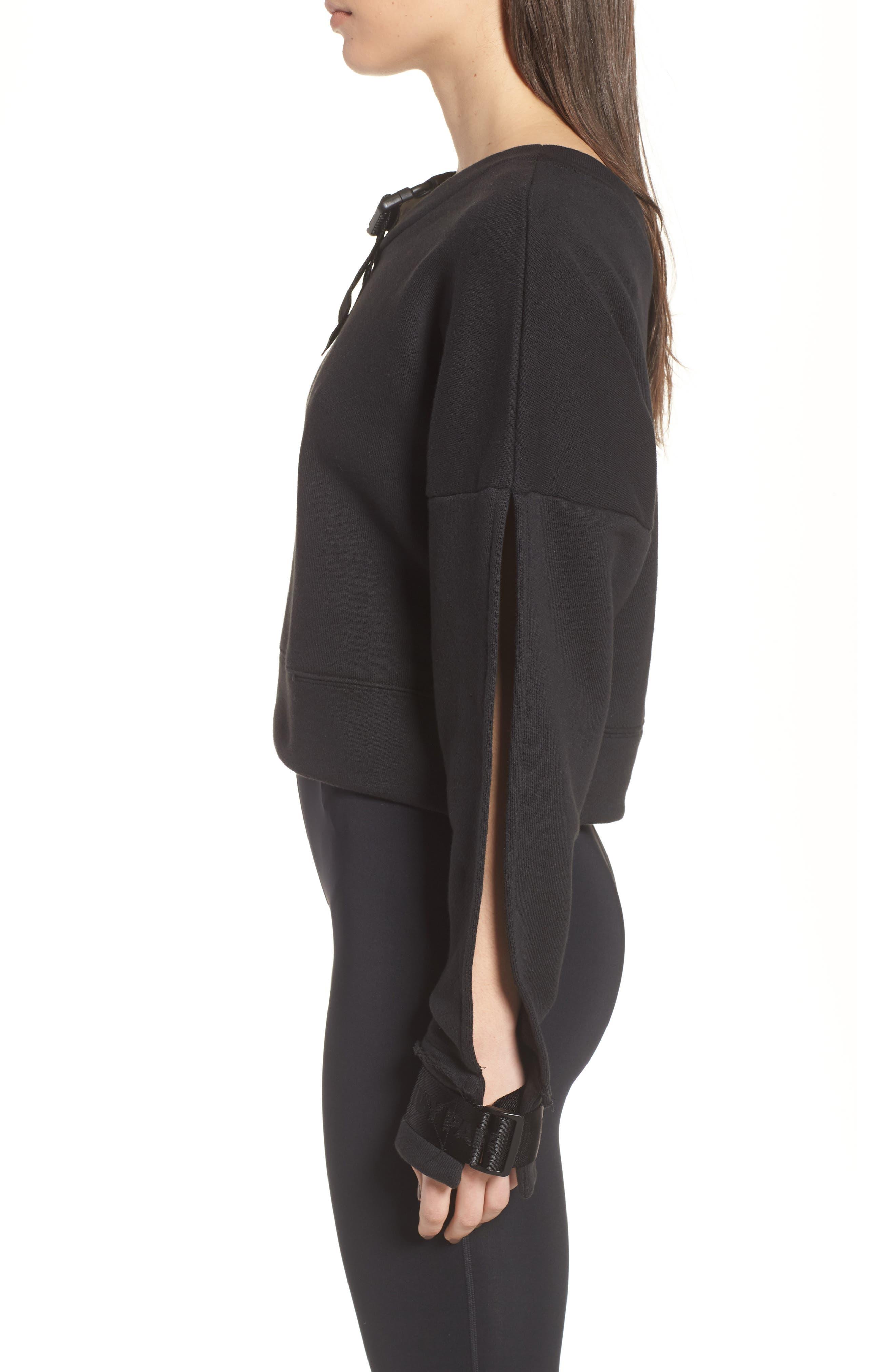 Harness Strap Sweatshirt,                             Alternate thumbnail 3, color,                             Black