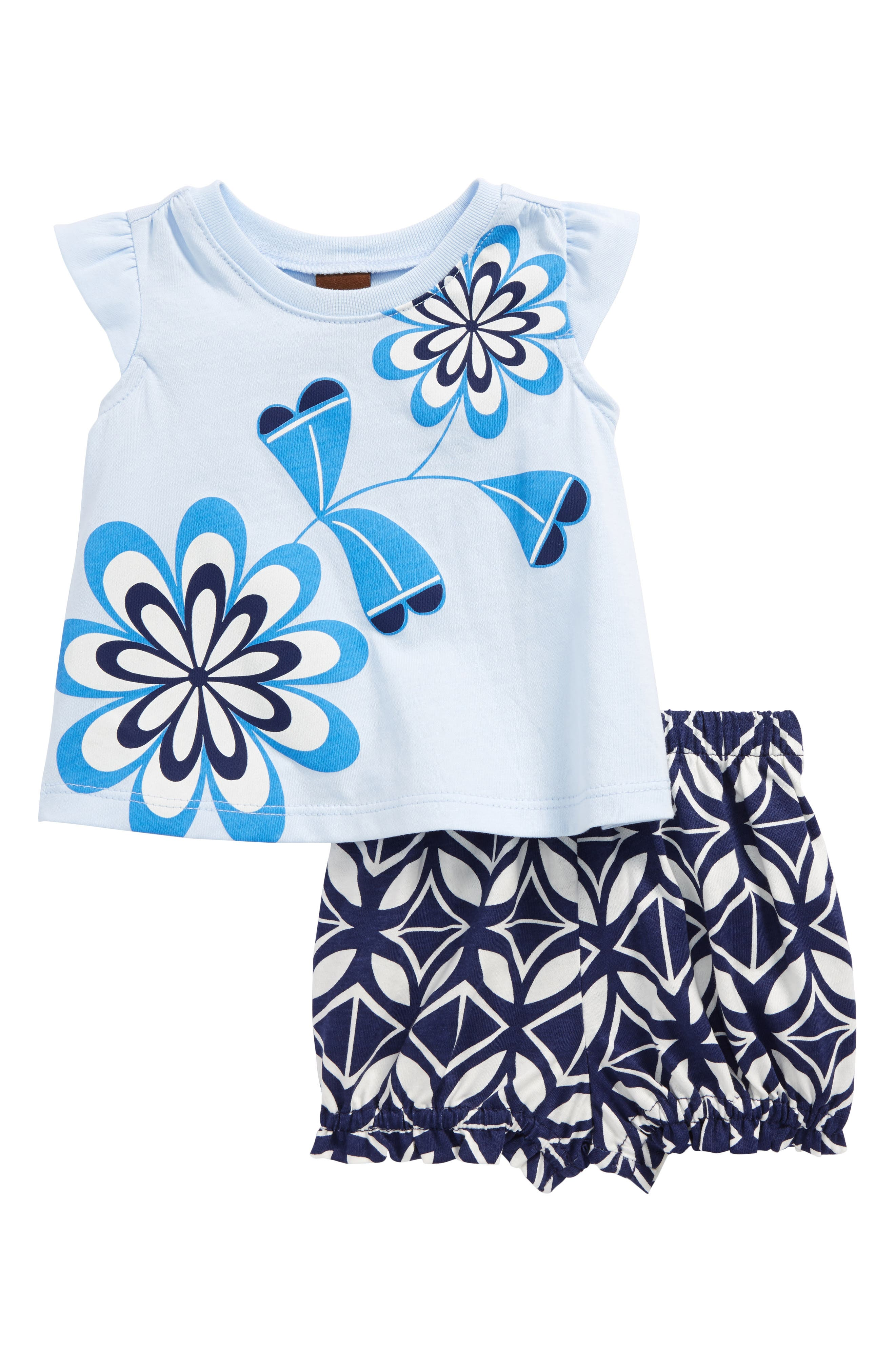 Tea Collection Blooming Florals Tee & Shorts Set (Baby Girls)