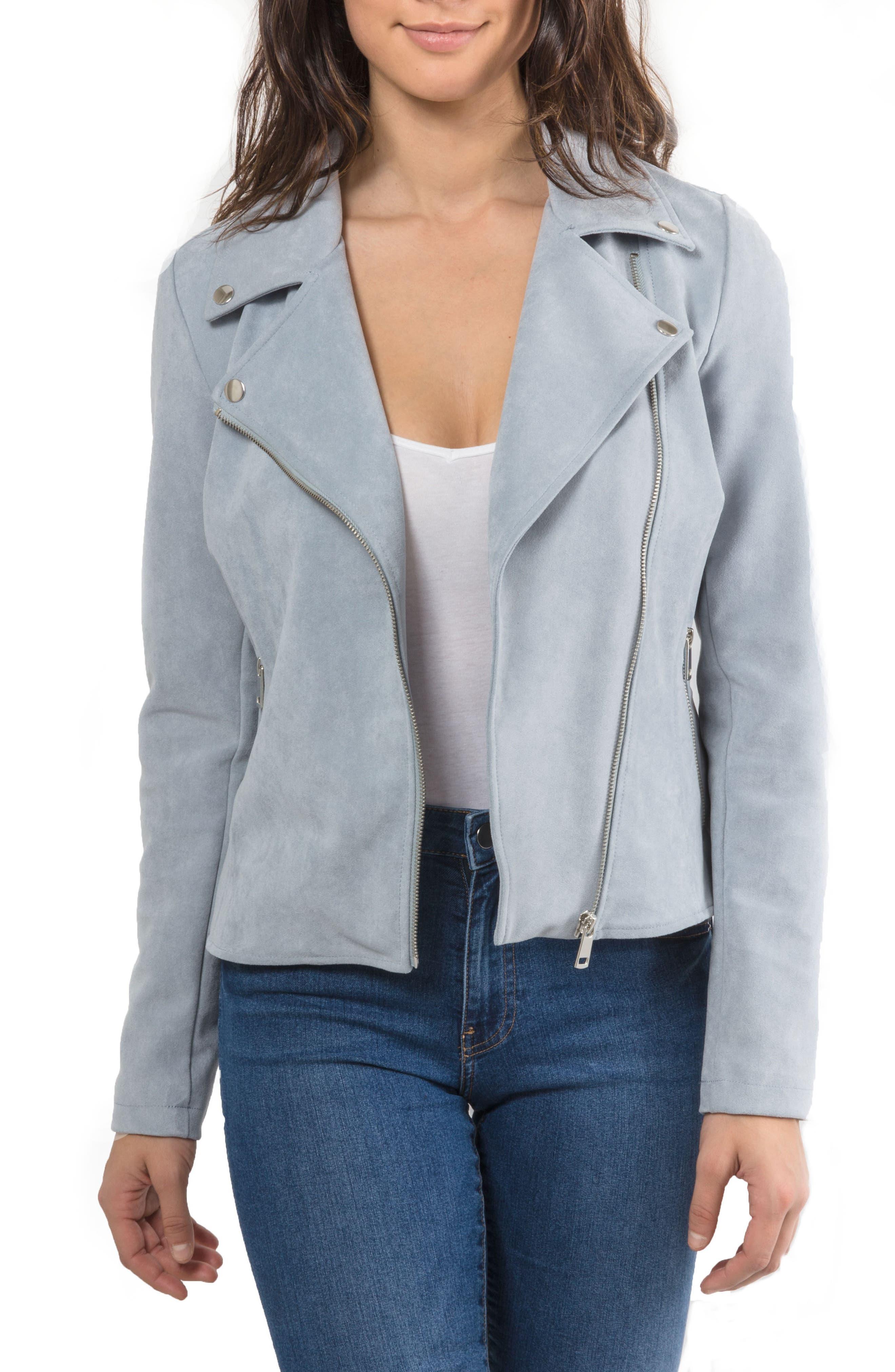 Faux Suede Biker Jacket,                             Main thumbnail 1, color,                             Mineral Blue