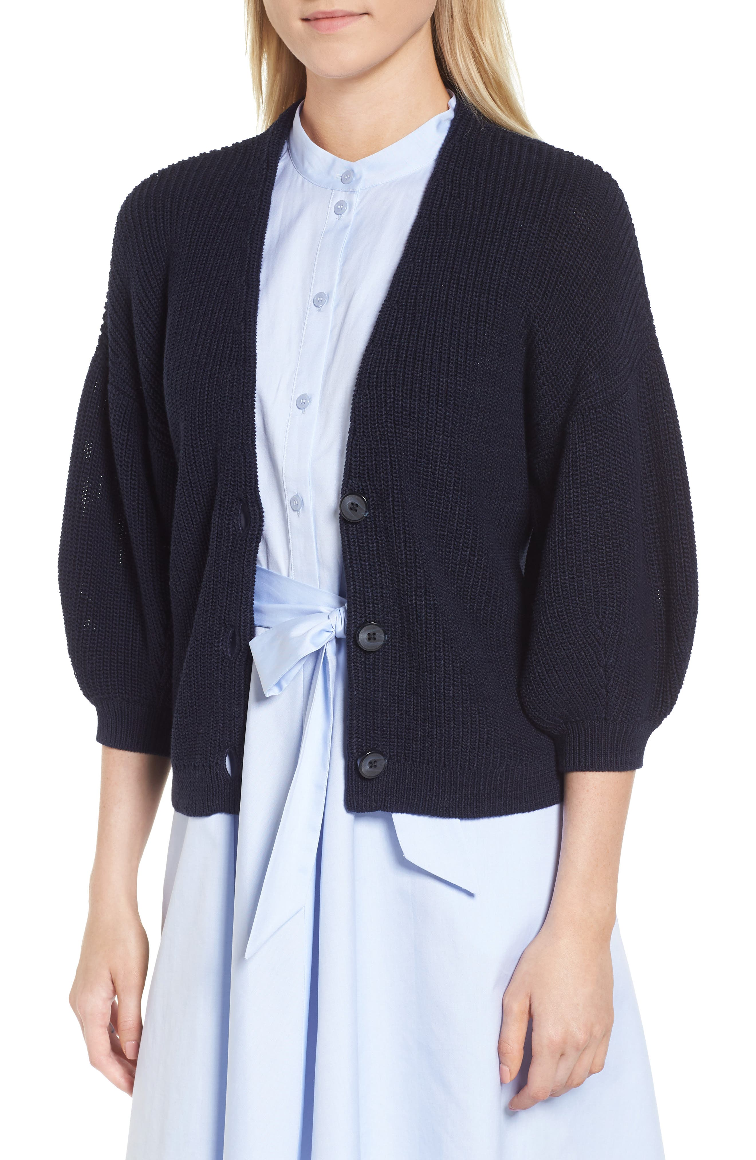 V-Neck Cotton Cardigan,                             Main thumbnail 1, color,                             Navy Night