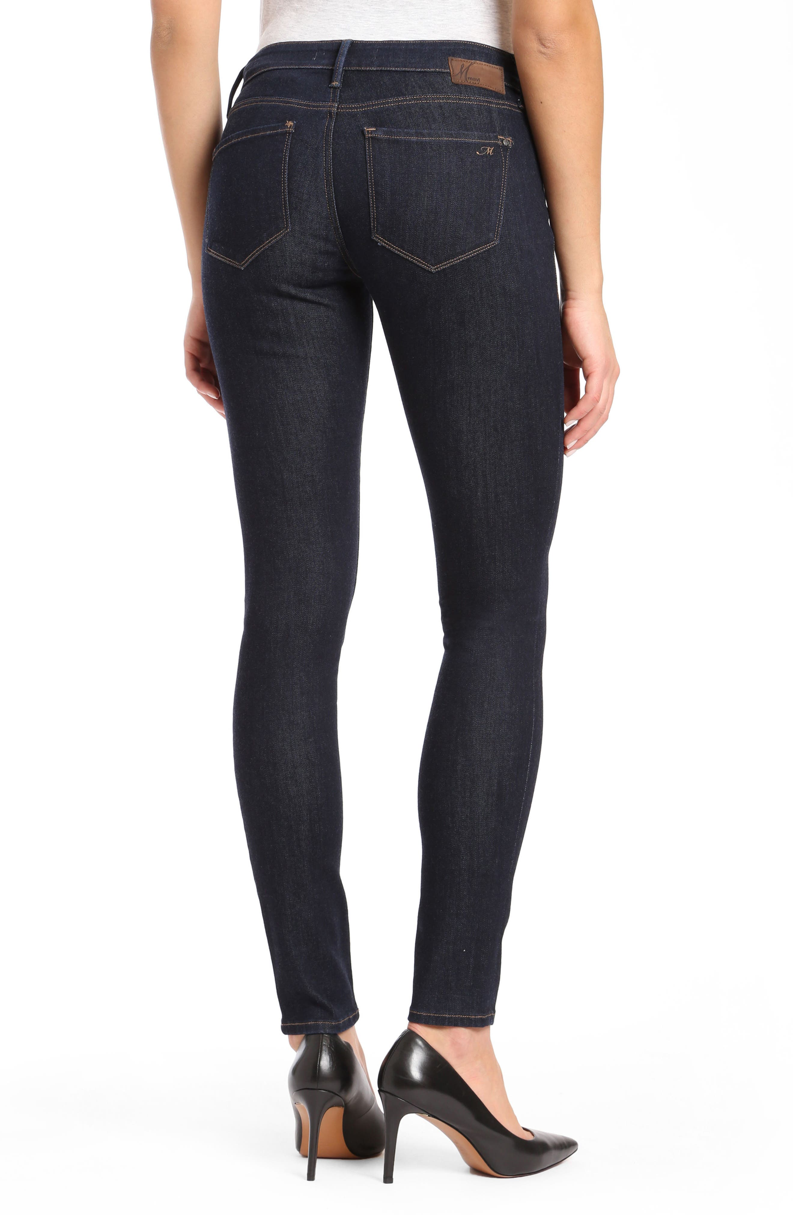 Alternate Image 2  - Mavi Alexa Supersoft Skinny Jeans (Dark Rinse)