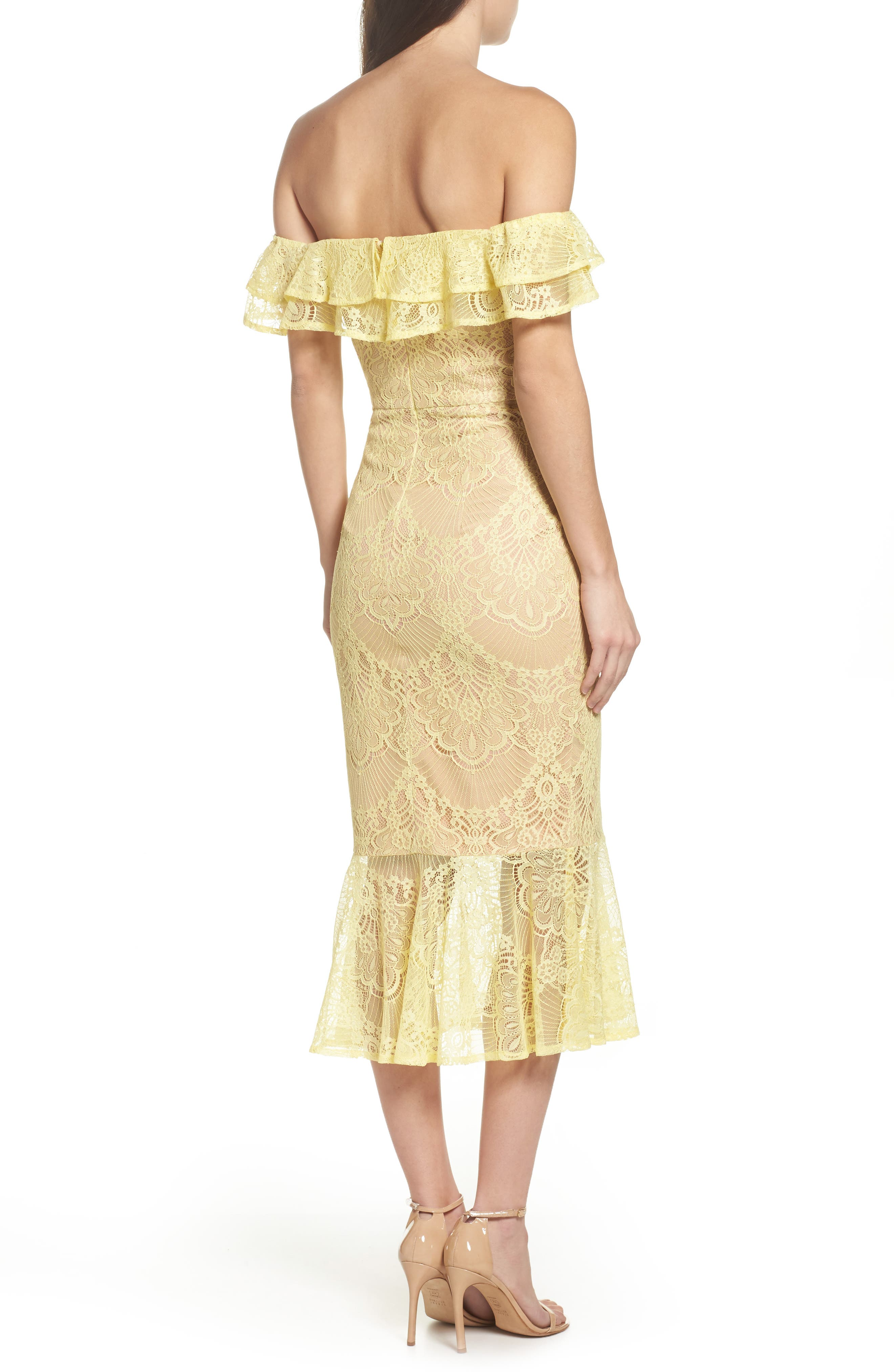 Toril Off the Shoulder Lace Midi Dress,                             Alternate thumbnail 2, color,                             Yellow
