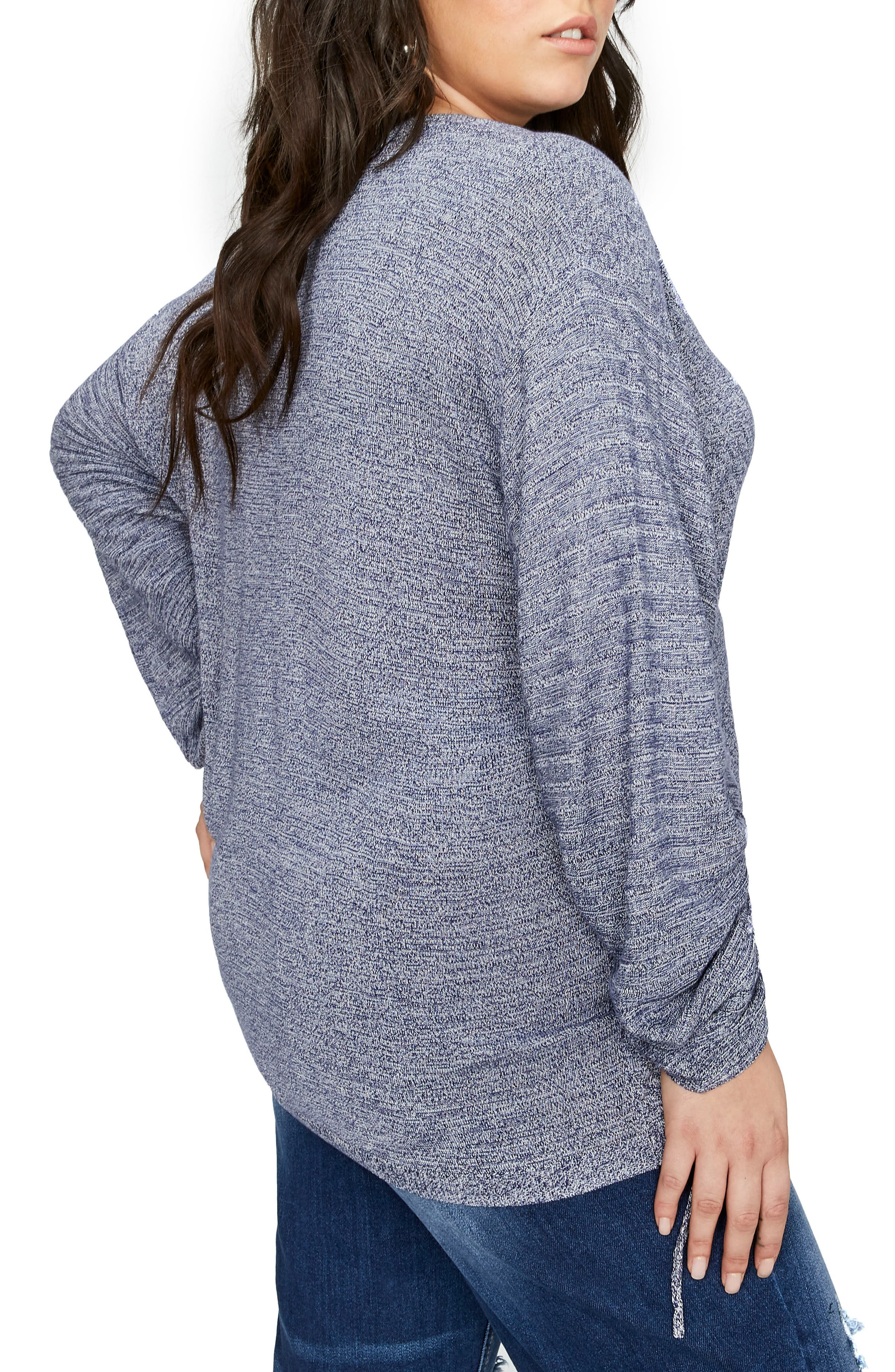 Drawcord Sleeve Sweater,                             Alternate thumbnail 2, color,                             Egret Blue Print