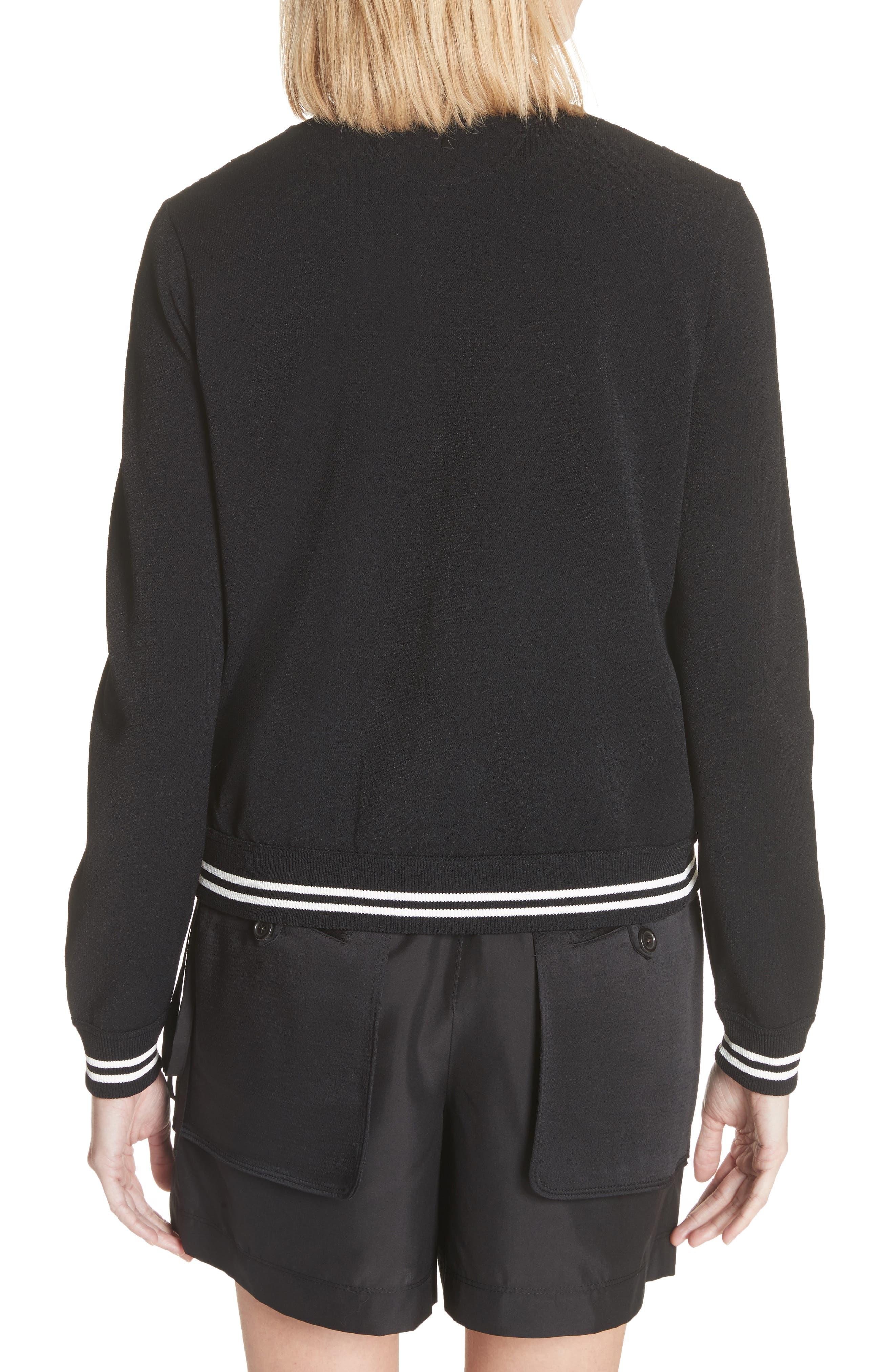 Lace Front Bomber Jacket,                             Alternate thumbnail 2, color,                             Black