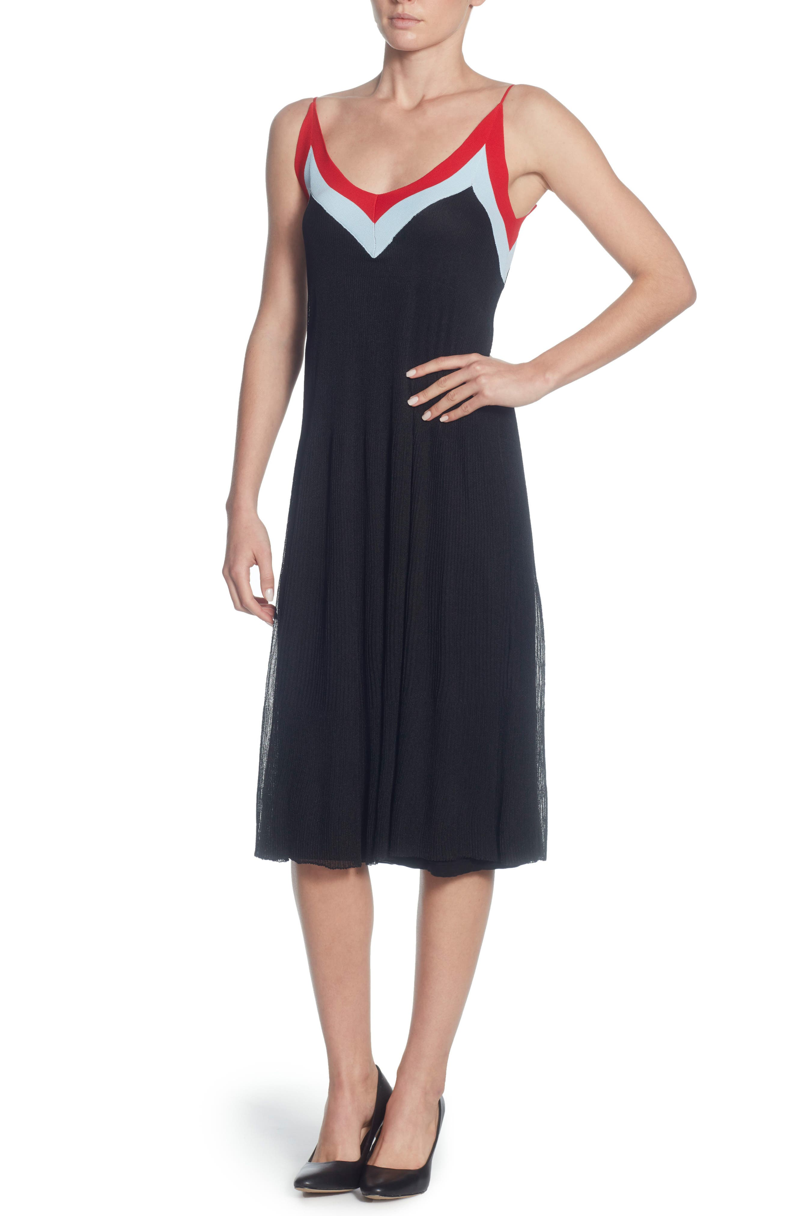 Olympe Fit and Flare Dress,                             Main thumbnail 1, color,                             Black/ Powder Blue/ Red