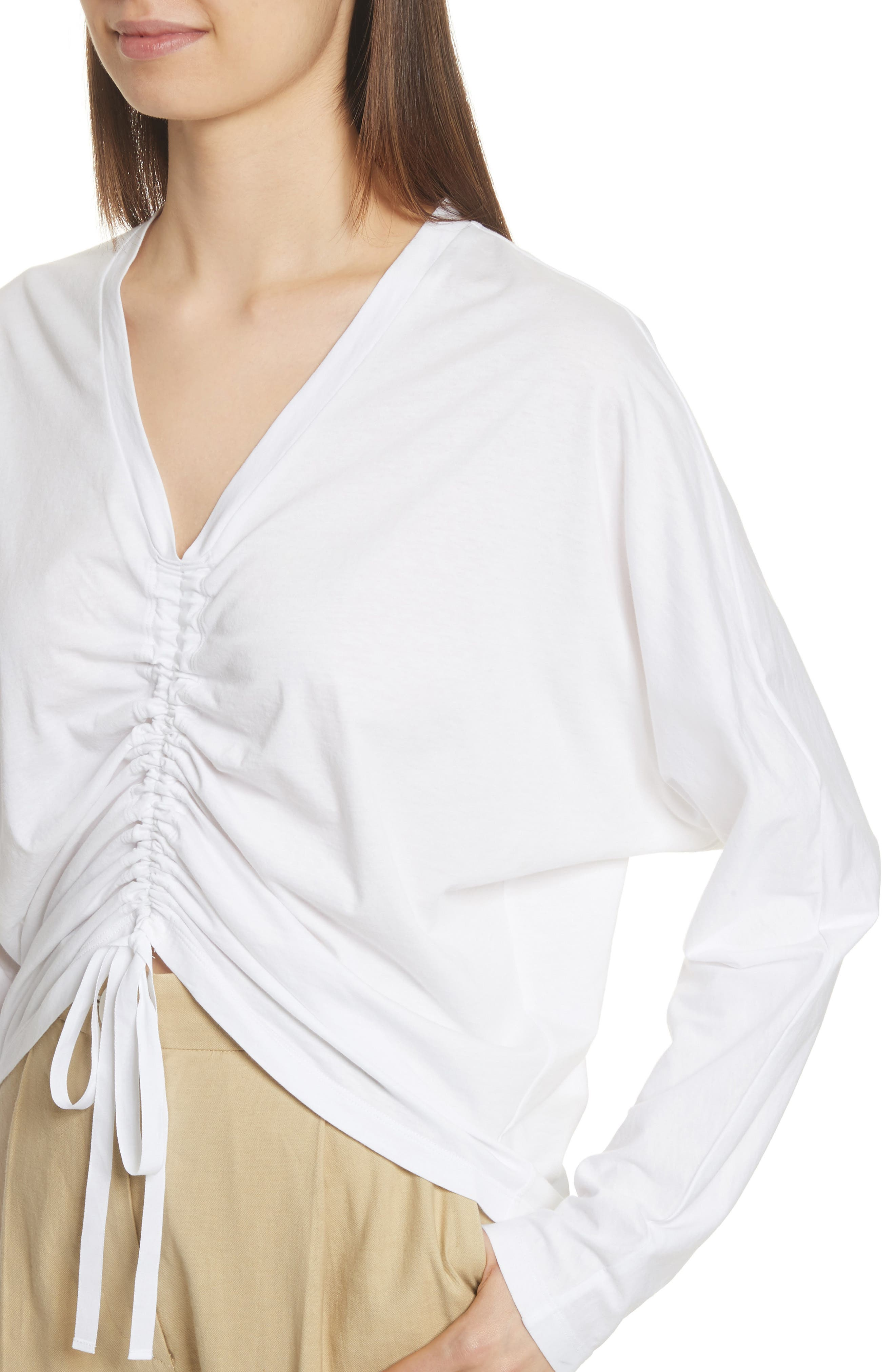 Ruched Front Tee,                             Alternate thumbnail 4, color,                             White